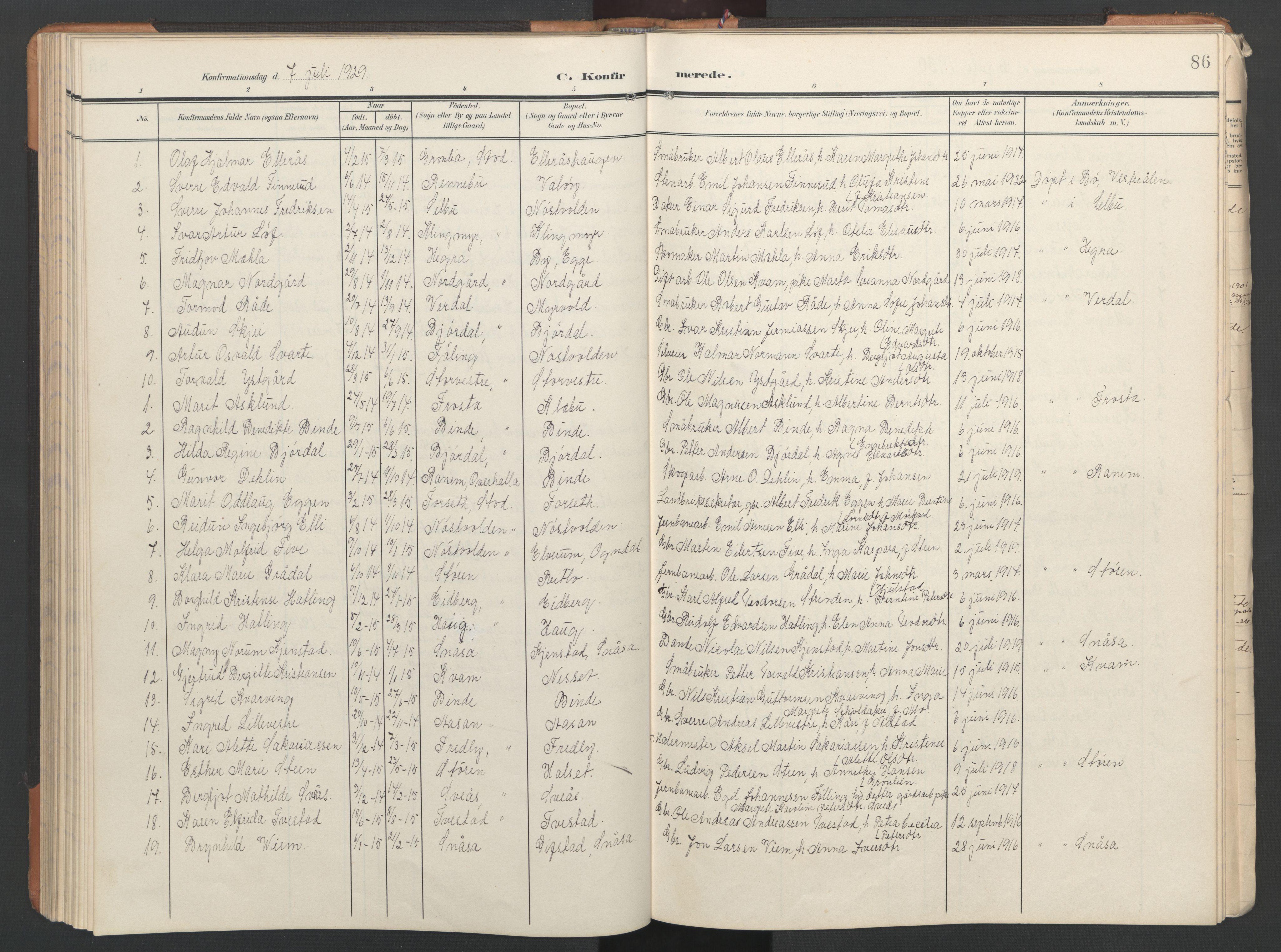 SAT, Ministerialprotokoller, klokkerbøker og fødselsregistre - Nord-Trøndelag, 746/L0455: Klokkerbok nr. 746C01, 1908-1933, s. 86