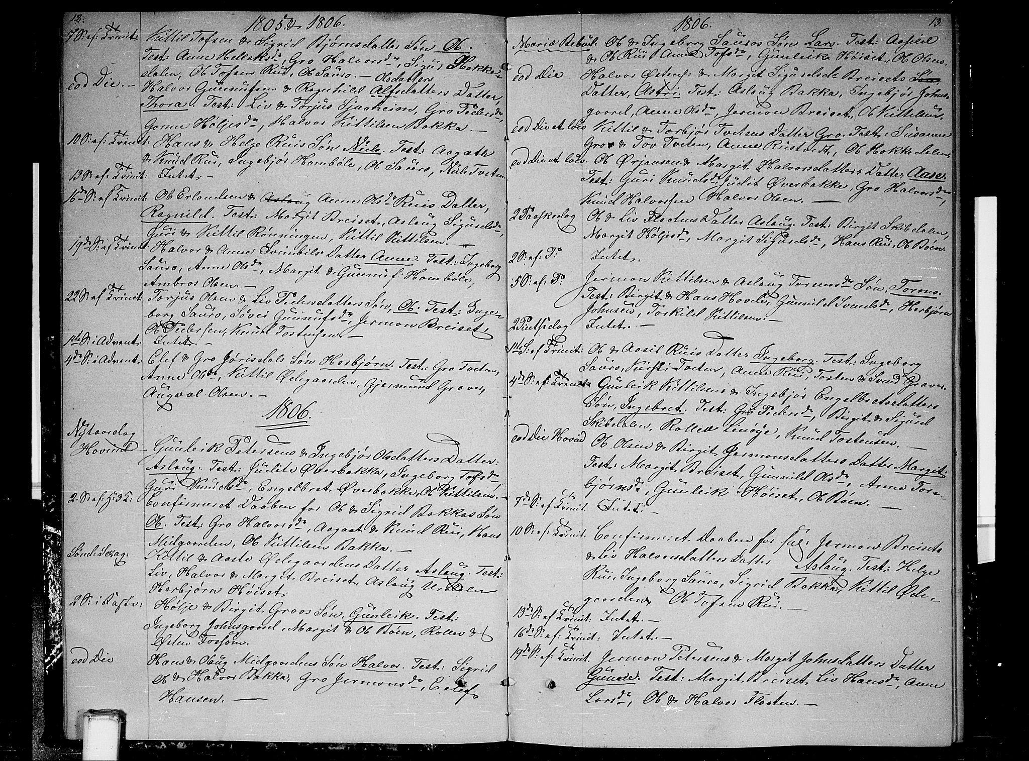 SAKO, Gransherad kirkebøker, F/Fb/L0001: Ministerialbok nr. II 1, 1800-1814, s. 12-13