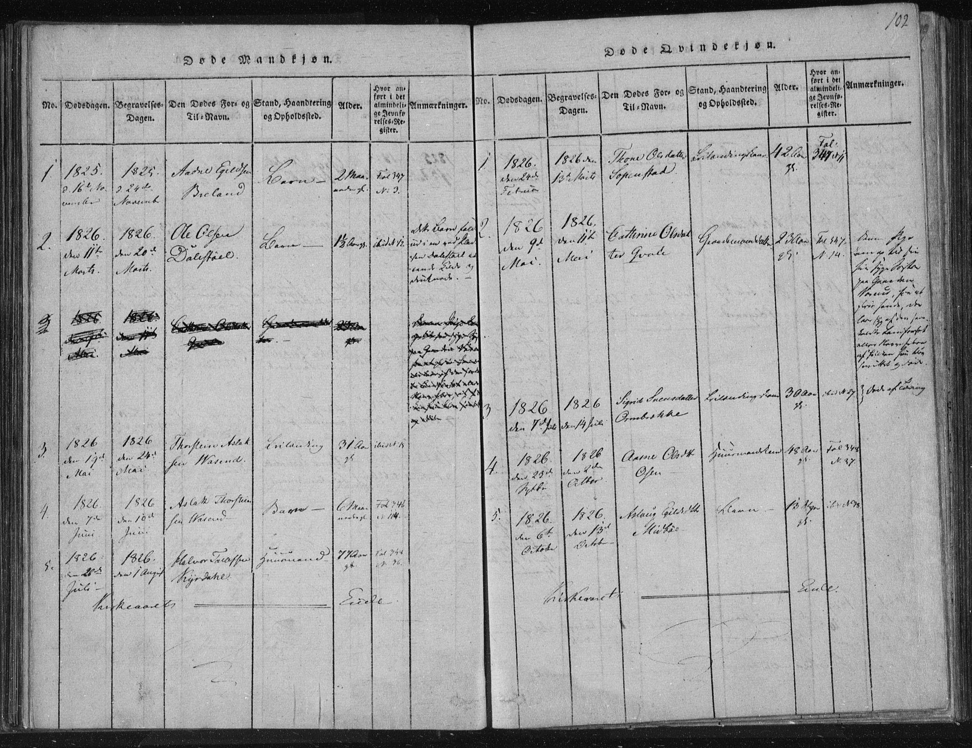 SAKO, Lårdal kirkebøker, F/Fc/L0001: Ministerialbok nr. III 1, 1815-1860, s. 102