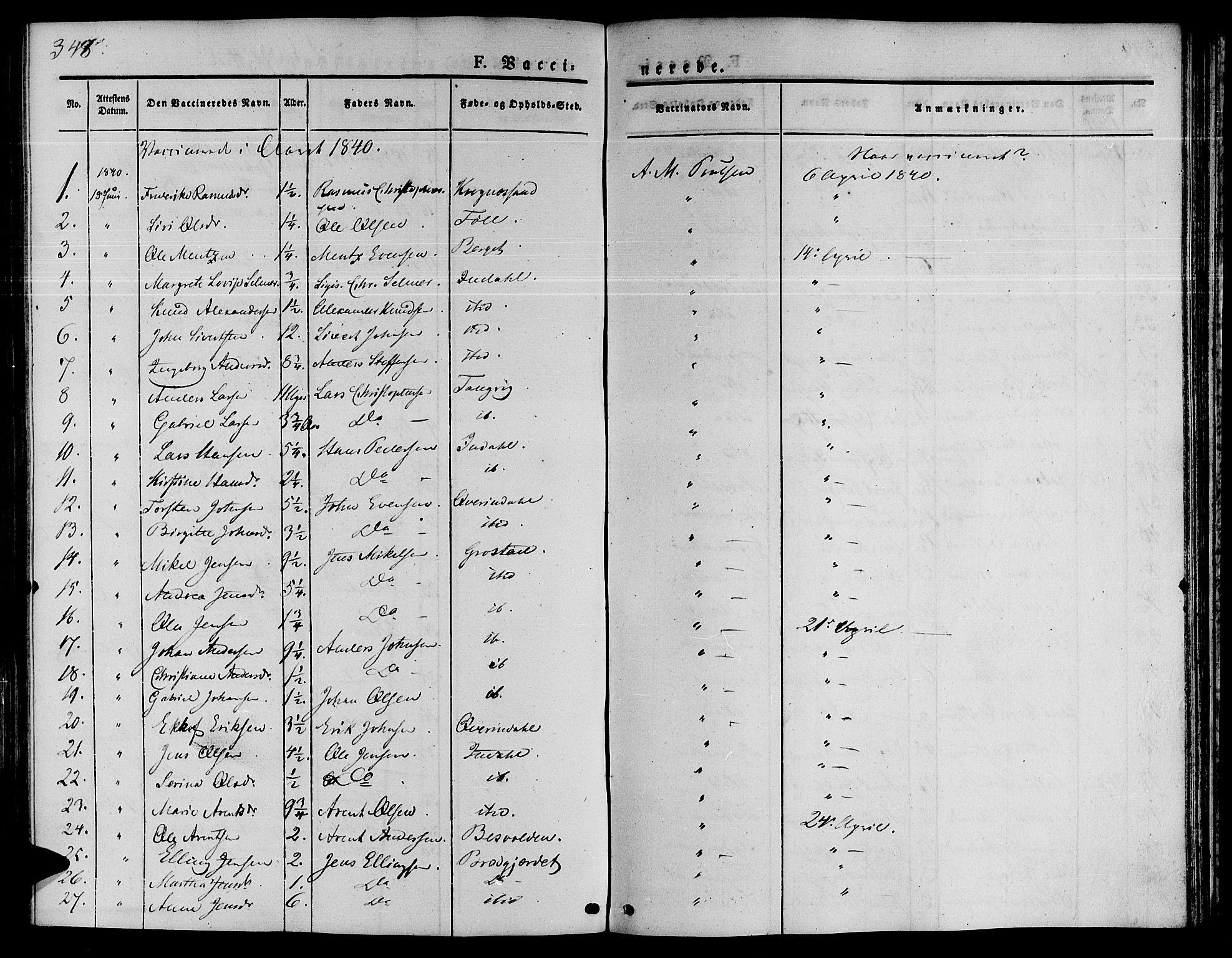 SAT, Ministerialprotokoller, klokkerbøker og fødselsregistre - Sør-Trøndelag, 646/L0610: Ministerialbok nr. 646A08, 1837-1847, s. 348