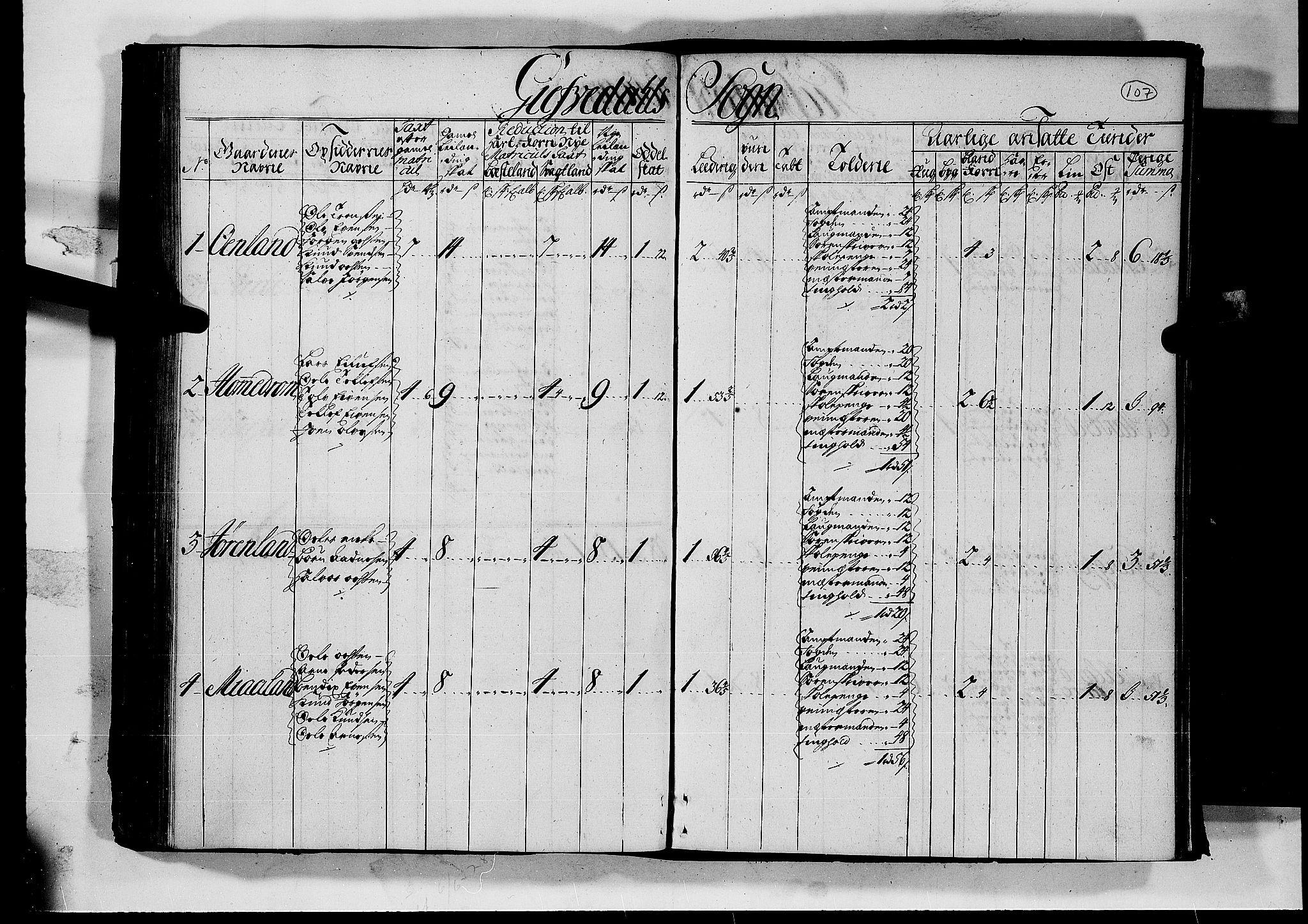 RA, Rentekammeret inntil 1814, Realistisk ordnet avdeling, N/Nb/Nbf/L0126: Råbyggelag matrikkelprotokoll, 1723, s. 106b-107a