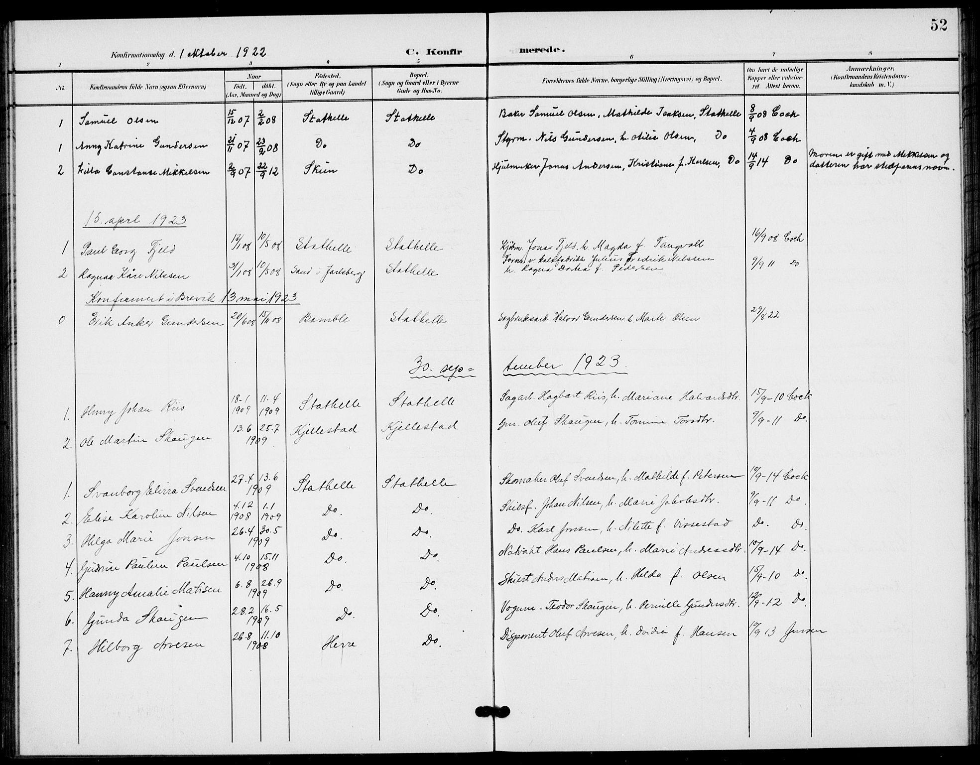 SAKO, Bamble kirkebøker, G/Gb/L0002: Klokkerbok nr. II 2, 1900-1925, s. 52