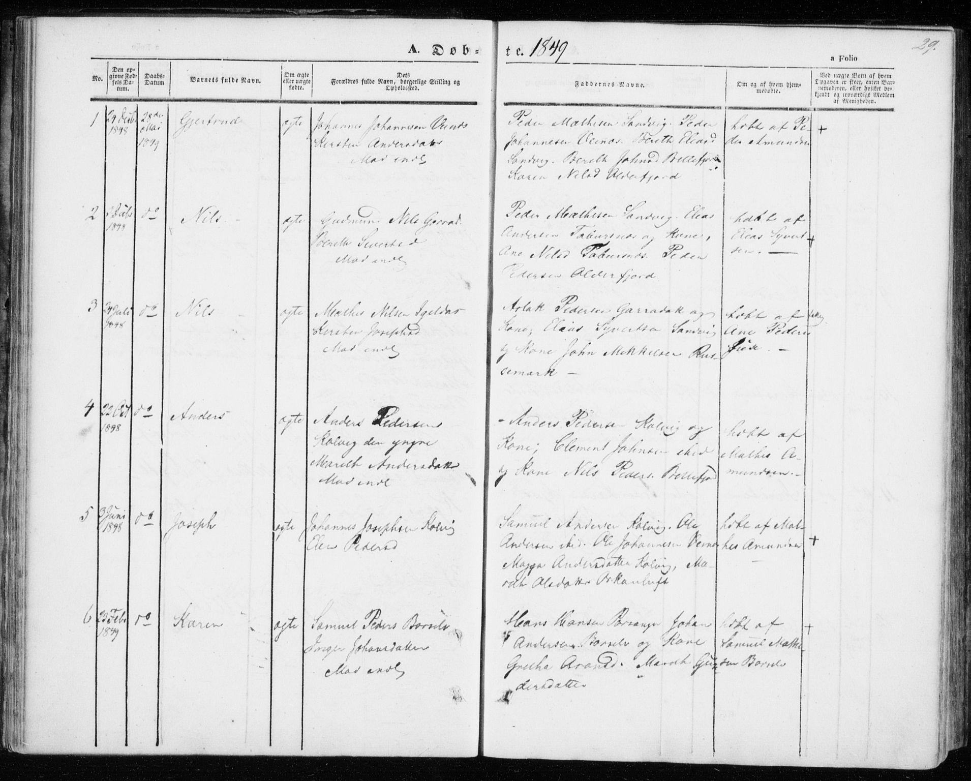 SATØ, Kistrand/Porsanger sokneprestembete, H/Ha/L0004.kirke: Ministerialbok nr. 4, 1843-1860, s. 29