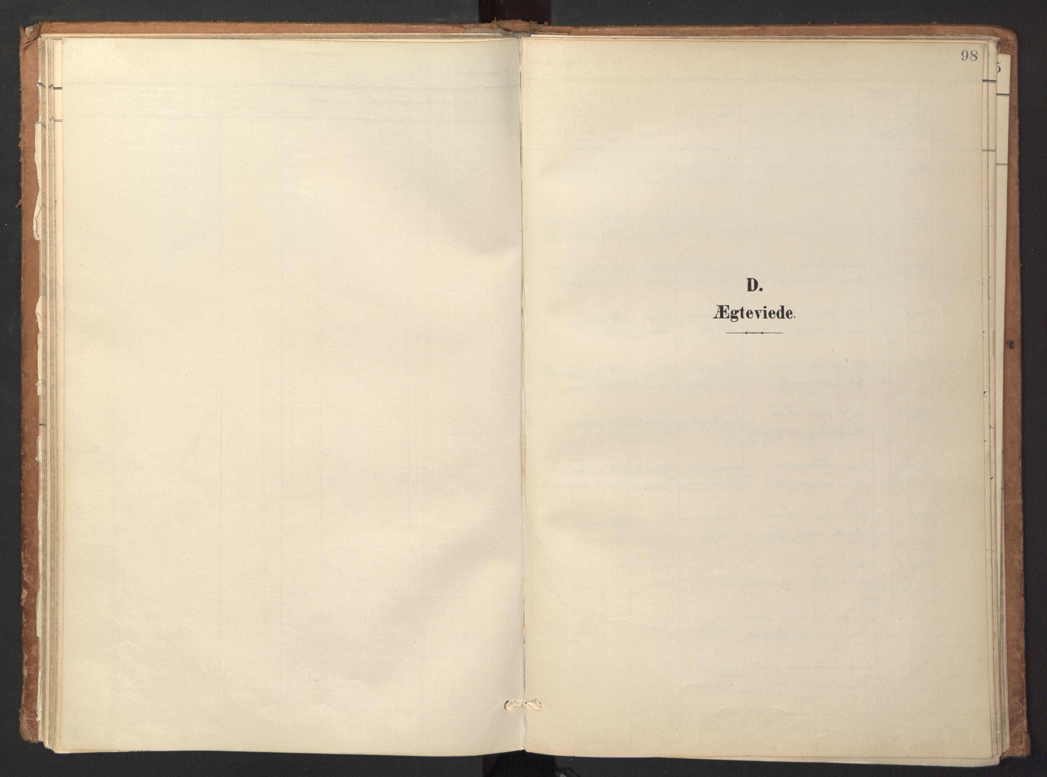 SAT, Ministerialprotokoller, klokkerbøker og fødselsregistre - Sør-Trøndelag, 618/L0448: Ministerialbok nr. 618A11, 1898-1916, s. 98