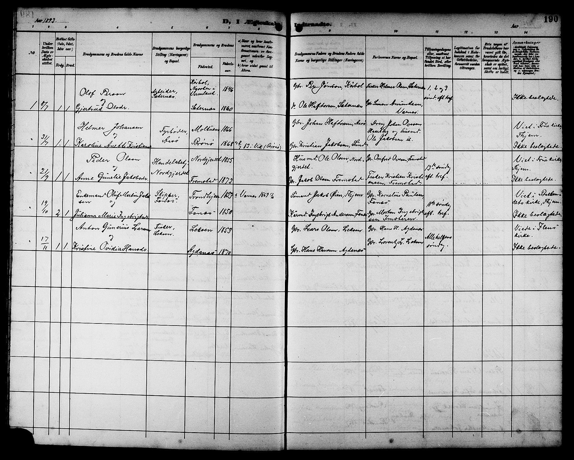 SAT, Ministerialprotokoller, klokkerbøker og fødselsregistre - Sør-Trøndelag, 662/L0757: Klokkerbok nr. 662C02, 1892-1918, s. 190