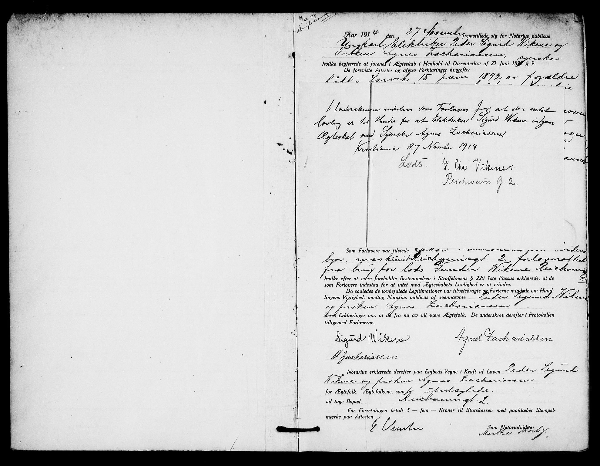 SAO, Oslo byfogd avd. I, L/Lb/Lbb/L0010: Notarialprotokoll, rekke II: Vigsler, 1914-1916, s. 1a