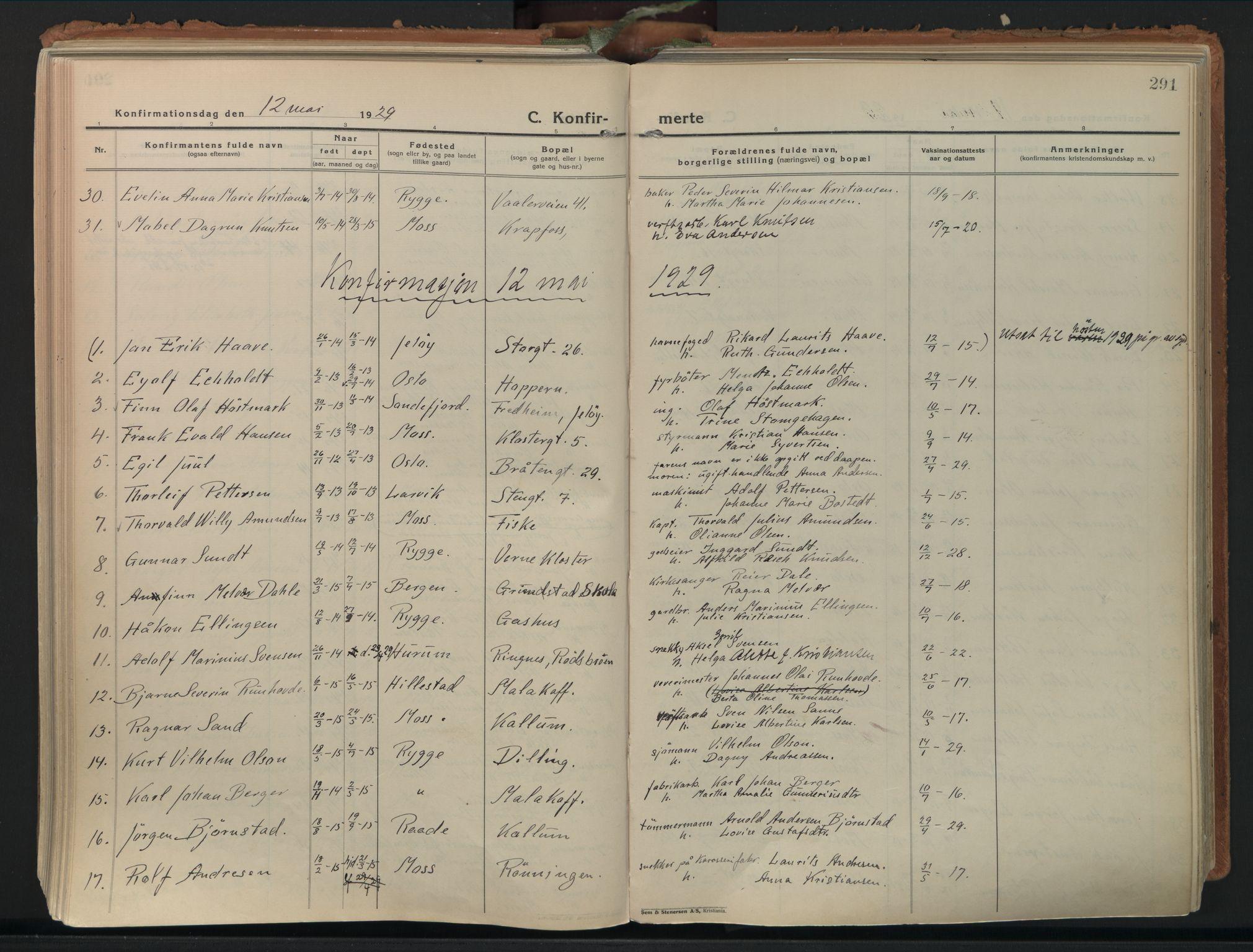 SAO, Moss prestekontor Kirkebøker, F/Fb/Fab/L0006: Ministerialbok nr. II 6, 1924-1932, s. 291