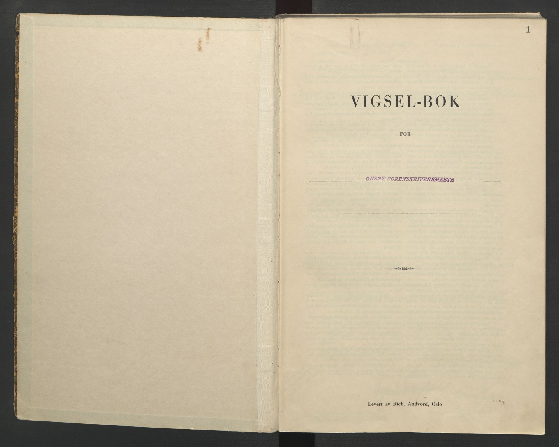 SAO, Onsøy sorenskriveri, L/La/L0002: Vigselsbok, 1942-1943, s. 1