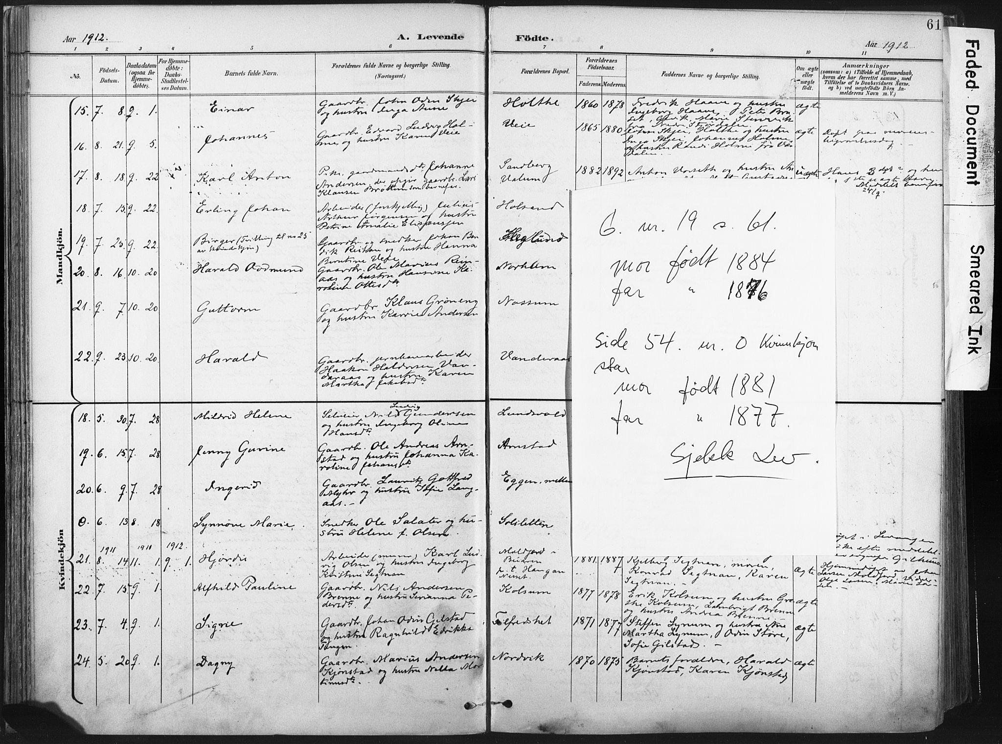 SAT, Ministerialprotokoller, klokkerbøker og fødselsregistre - Nord-Trøndelag, 717/L0162: Ministerialbok nr. 717A12, 1898-1923, s. 61