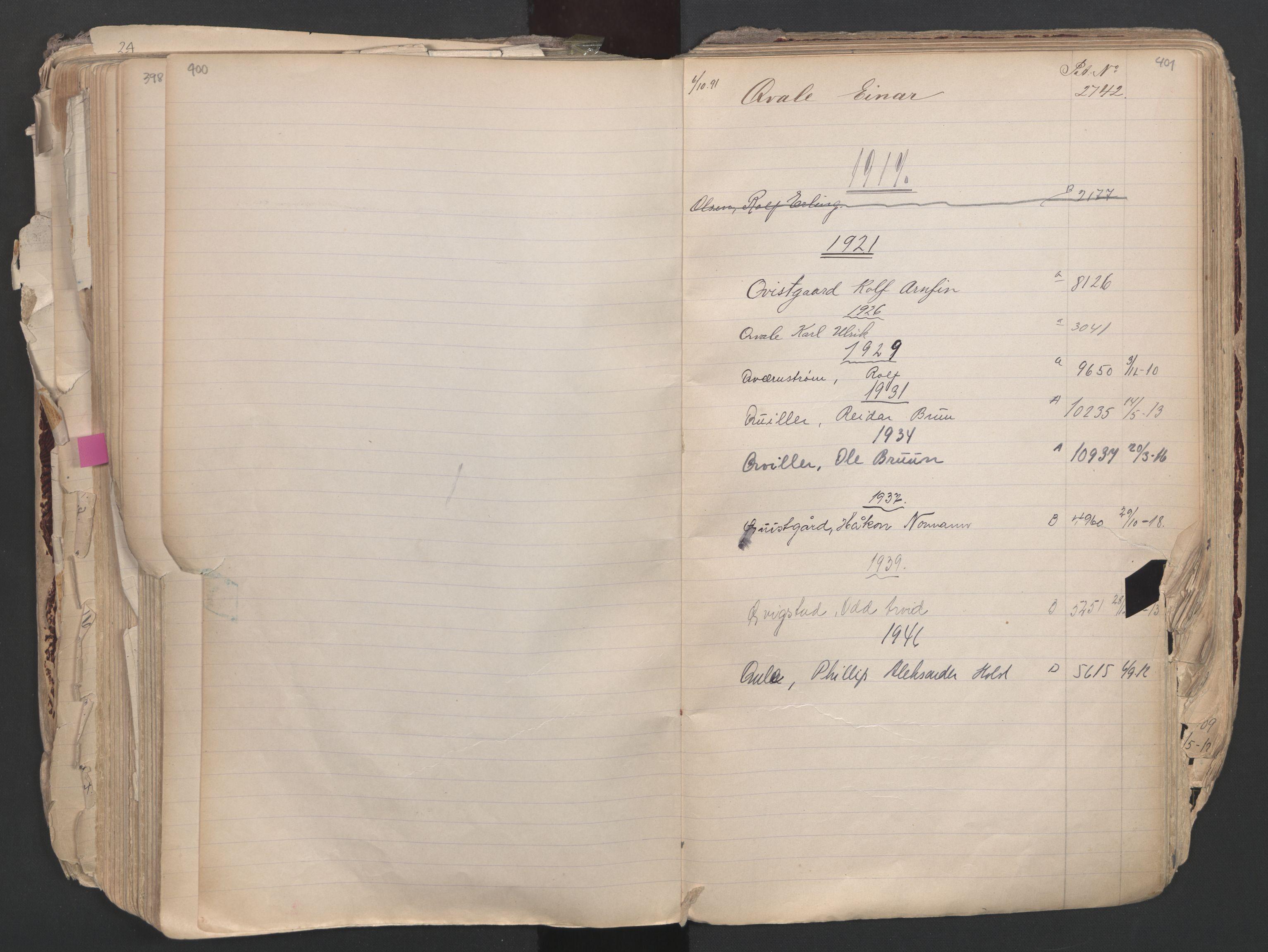 SAO, Oslo sjømannskontor, F/Fa/L0003: Register for Oslo mønstringskrets, 1891-1948, s. 400-401
