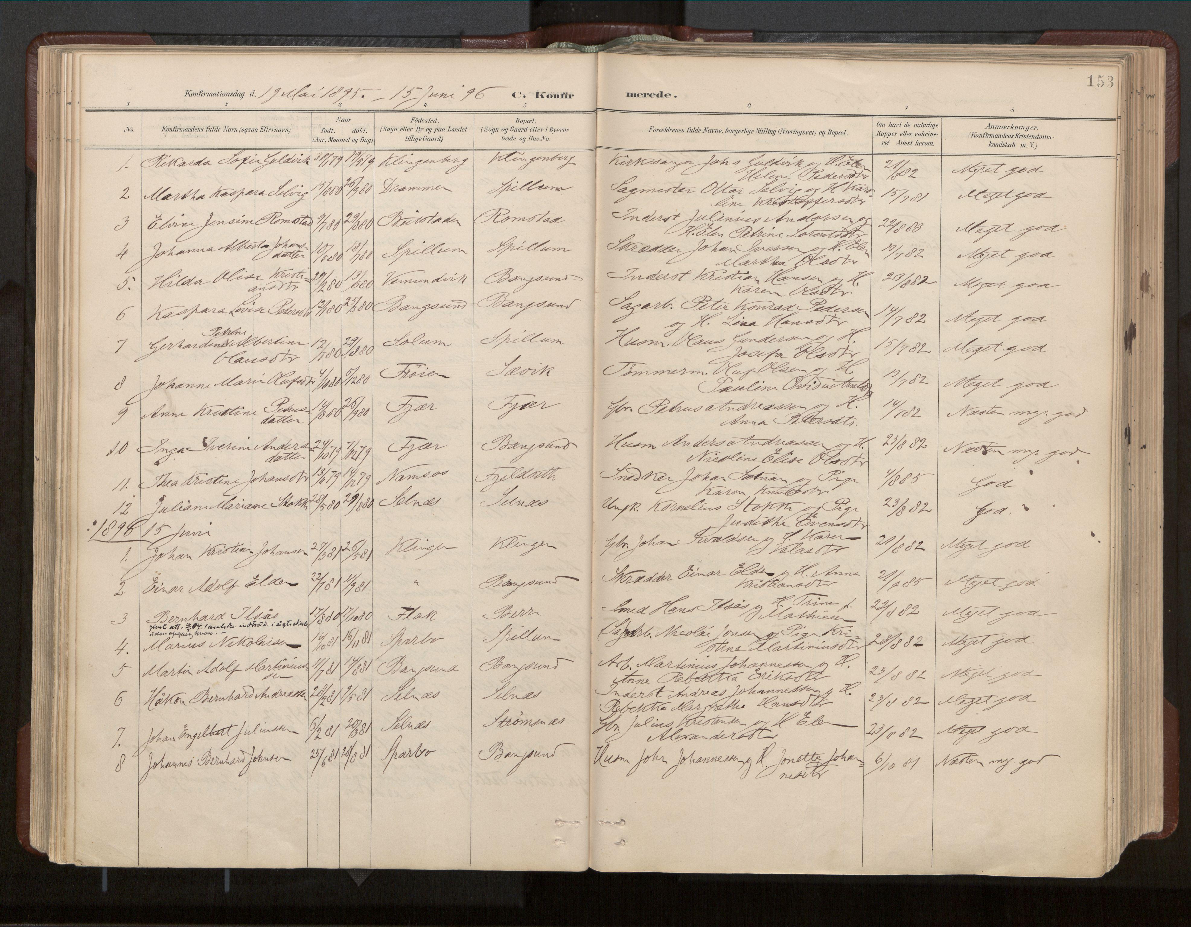 SAT, Ministerialprotokoller, klokkerbøker og fødselsregistre - Nord-Trøndelag, 770/L0589: Ministerialbok nr. 770A03, 1887-1929, s. 153