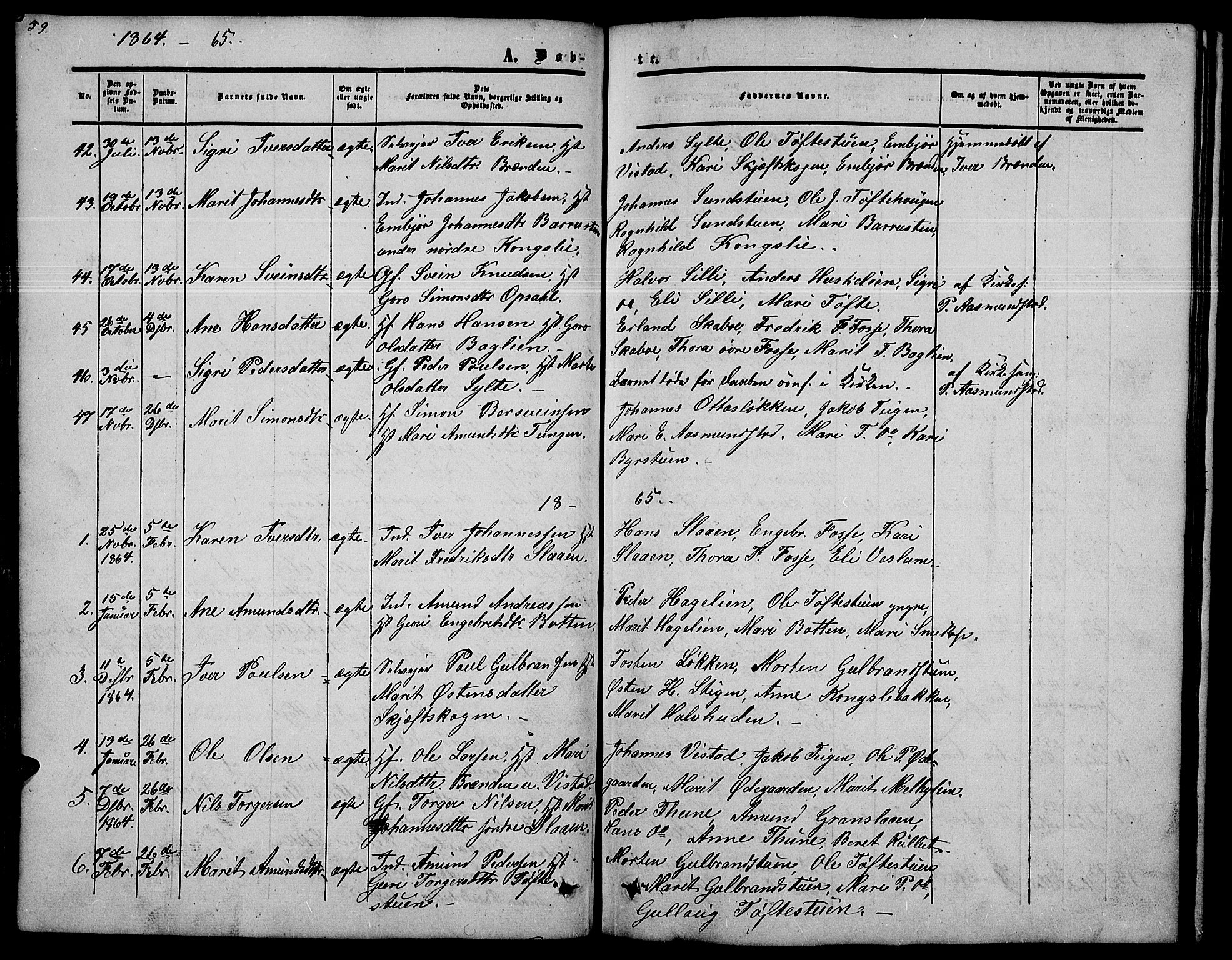 SAH, Nord-Fron prestekontor, Klokkerbok nr. 2, 1851-1883, s. 59