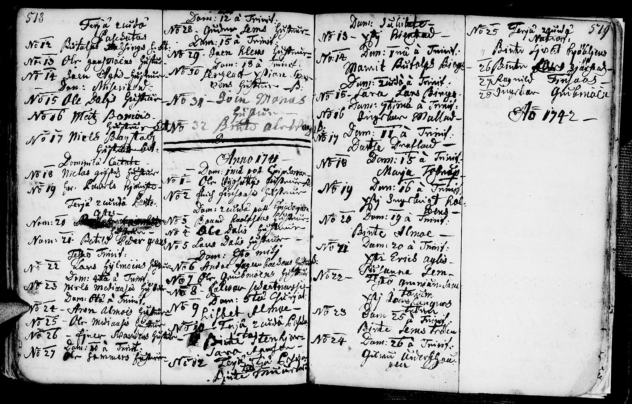 SAT, Ministerialprotokoller, klokkerbøker og fødselsregistre - Nord-Trøndelag, 749/L0467: Ministerialbok nr. 749A01, 1733-1787, s. 518-519