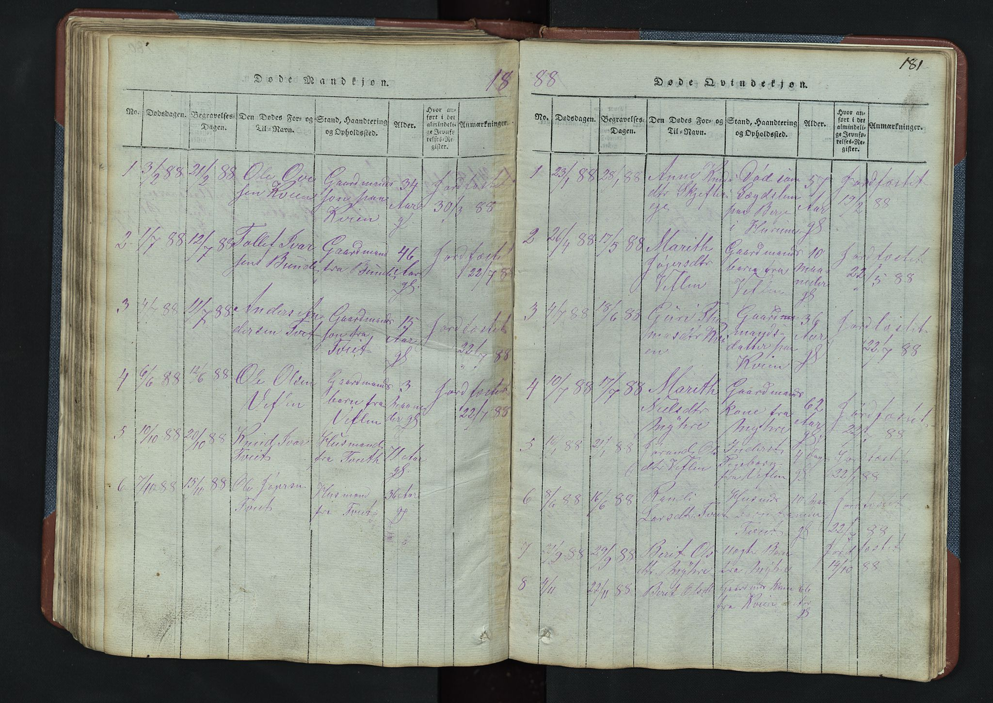 SAH, Vang prestekontor, Valdres, Klokkerbok nr. 3, 1814-1892, s. 181