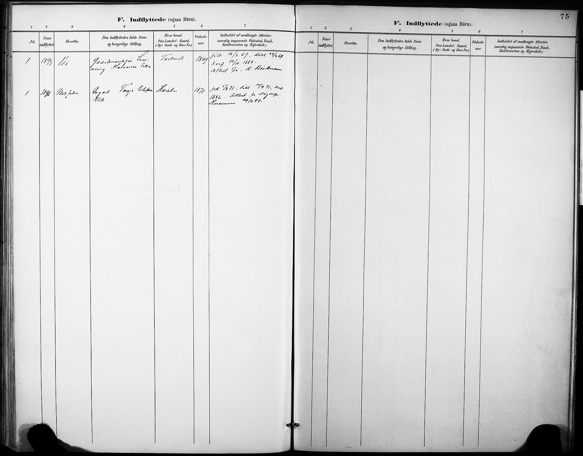 SAKO, Fyresdal kirkebøker, F/Fb/L0003: Ministerialbok nr. II 3, 1887-1903, s. 75