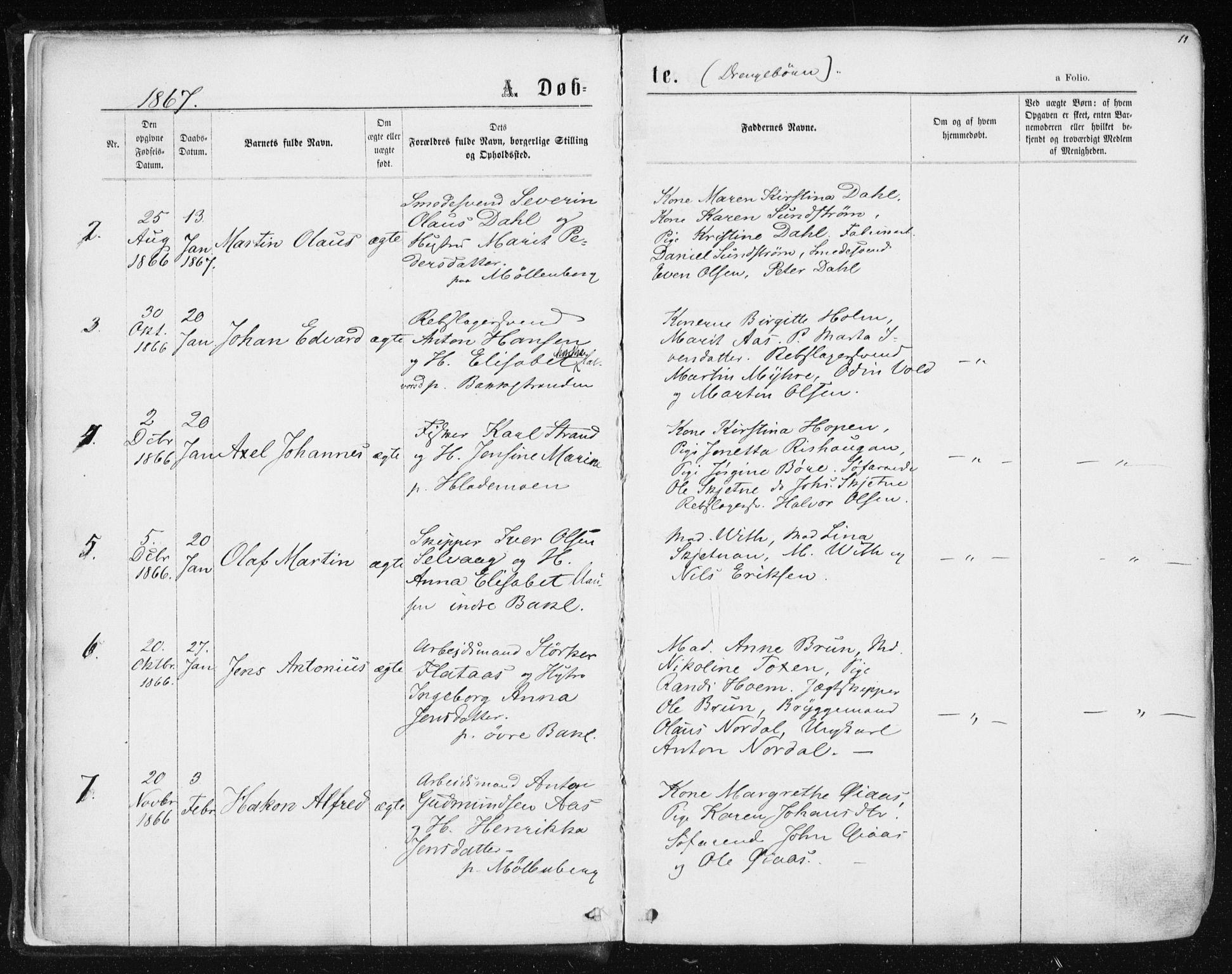 SAT, Ministerialprotokoller, klokkerbøker og fødselsregistre - Sør-Trøndelag, 604/L0186: Ministerialbok nr. 604A07, 1866-1877, s. 11