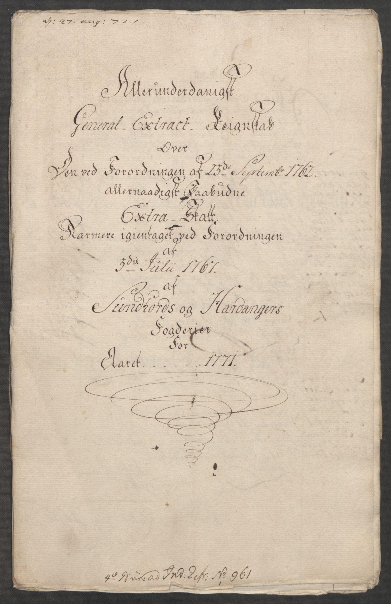 RA, Rentekammeret inntil 1814, Reviderte regnskaper, Fogderegnskap, R48/L3136: Ekstraskatten Sunnhordland og Hardanger, 1762-1772, s. 238