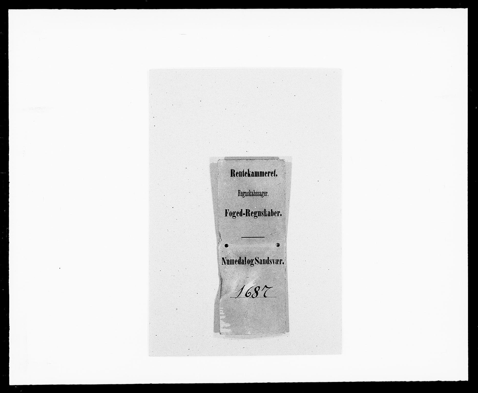 RA, Rentekammeret inntil 1814, Reviderte regnskaper, Fogderegnskap, R24/L1573: Fogderegnskap Numedal og Sandsvær, 1687-1691, s. 1