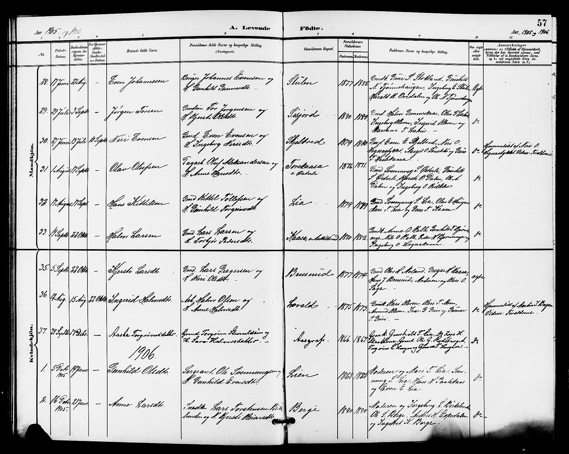 SAKO, Bø kirkebøker, G/Ga/L0006: Klokkerbok nr. 6, 1898-1909, s. 57