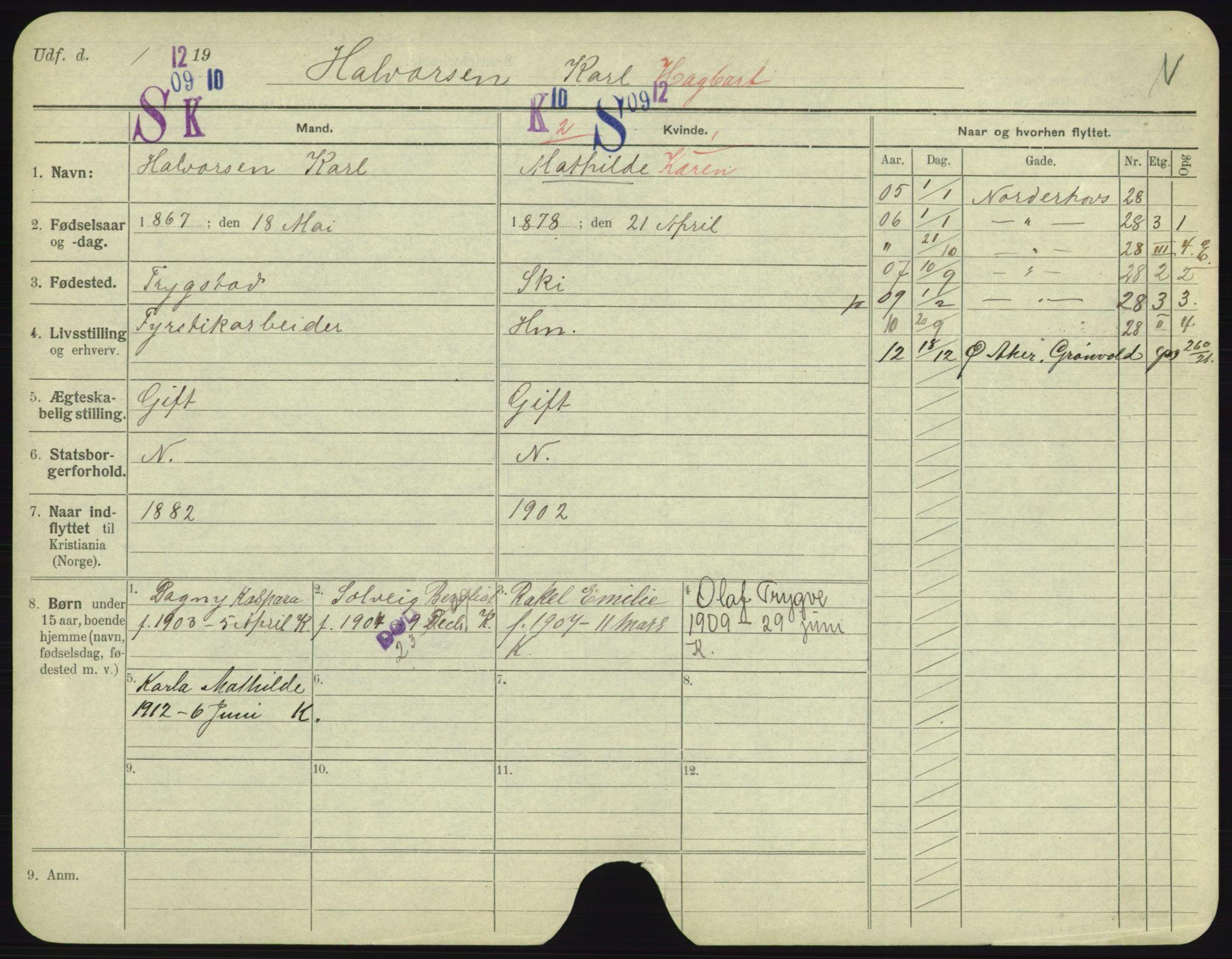 SAO, Oslo folkeregister, Registerkort, F/Fa/Fac/L0003: Menn, 1906-1914, s. 1126a
