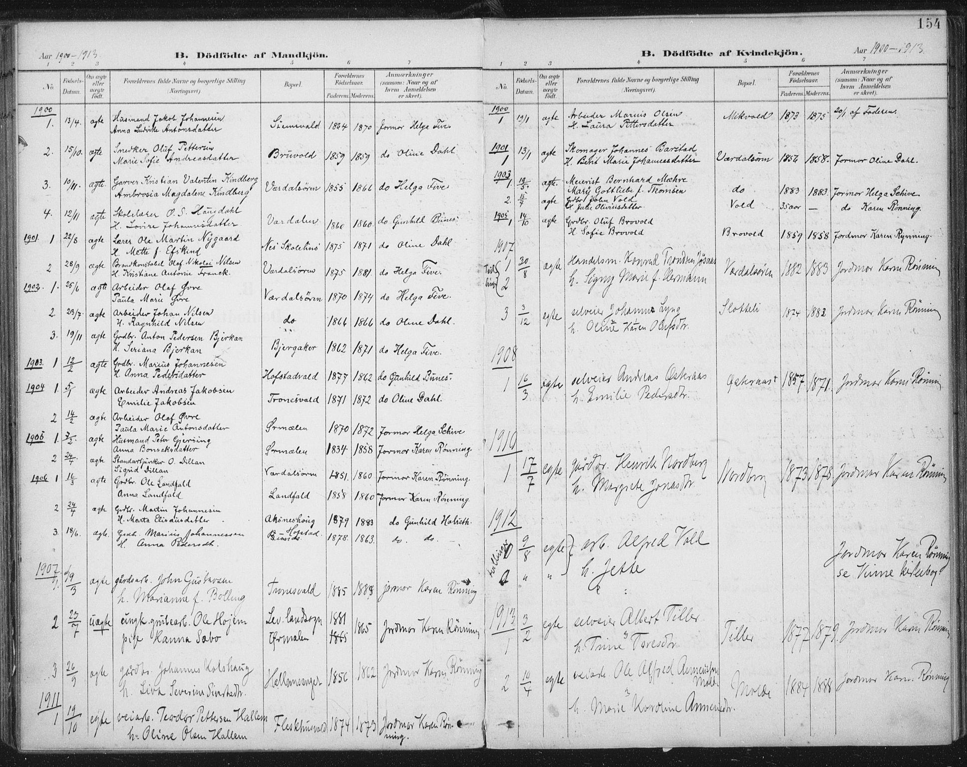 SAT, Ministerialprotokoller, klokkerbøker og fødselsregistre - Nord-Trøndelag, 723/L0246: Ministerialbok nr. 723A15, 1900-1917, s. 154