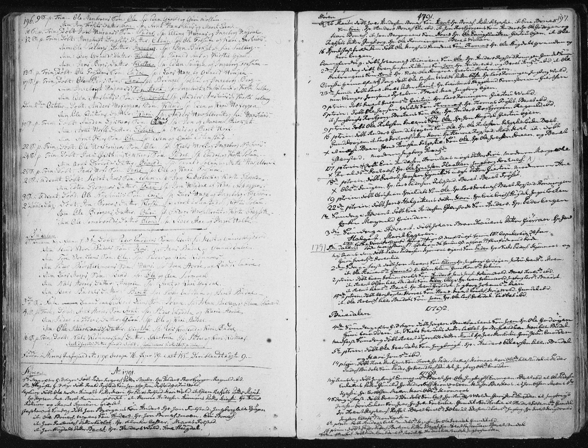 SAT, Ministerialprotokoller, klokkerbøker og fødselsregistre - Sør-Trøndelag, 687/L0992: Ministerialbok nr. 687A03 /1, 1788-1815, s. 196-197