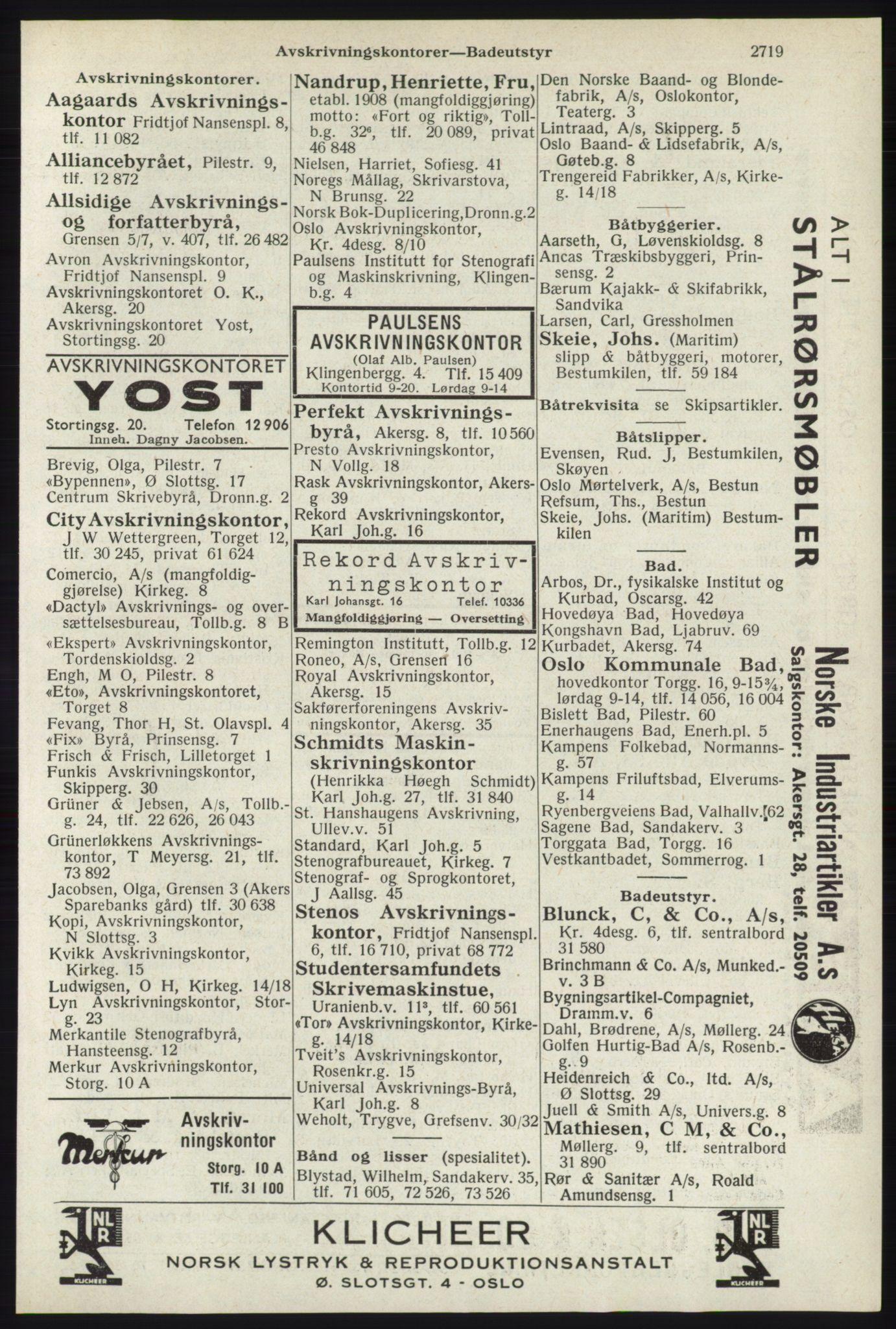 RA, Oslo adressebok (publikasjon)*, 1940, s. 2719
