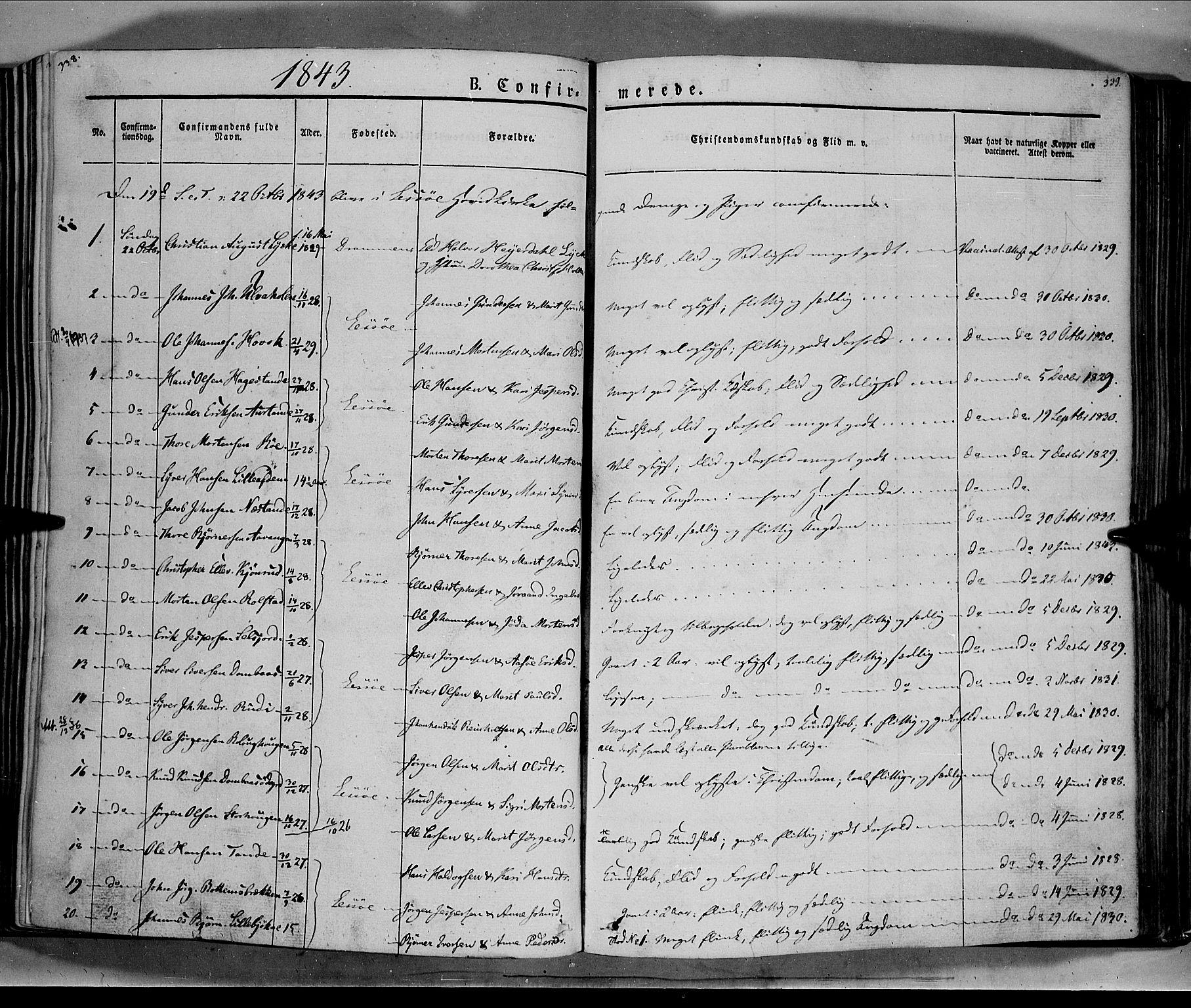 SAH, Lesja prestekontor, Ministerialbok nr. 6A, 1843-1854, s. 338-339