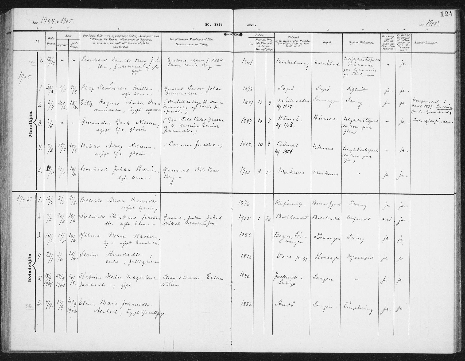SAT, Ministerialprotokoller, klokkerbøker og fødselsregistre - Nordland, 886/L1221: Ministerialbok nr. 886A03, 1903-1913, s. 124