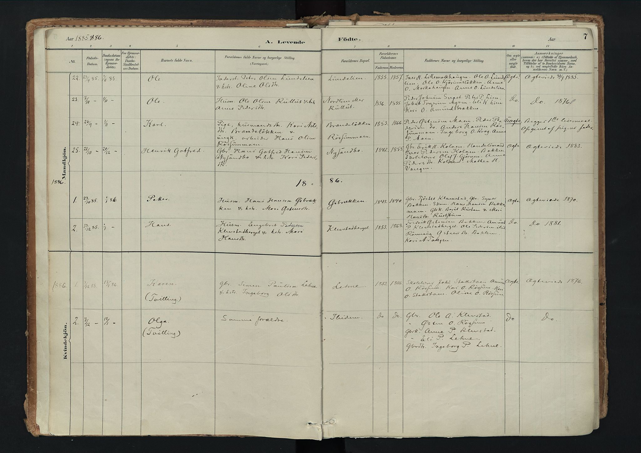 SAH, Nord-Fron prestekontor, Ministerialbok nr. 3, 1884-1914, s. 7