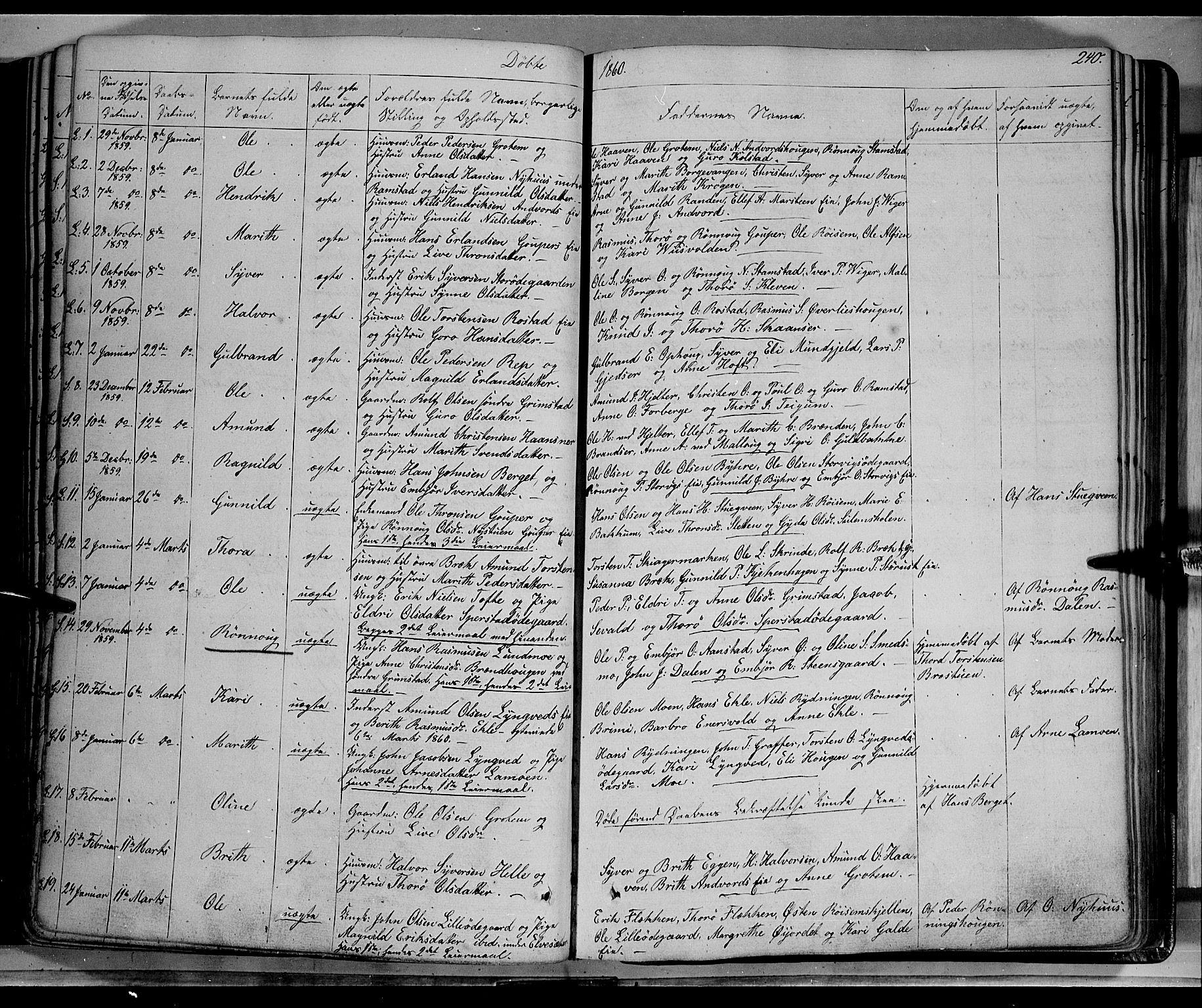 SAH, Lom prestekontor, K/L0006: Ministerialbok nr. 6A, 1837-1863, s. 240