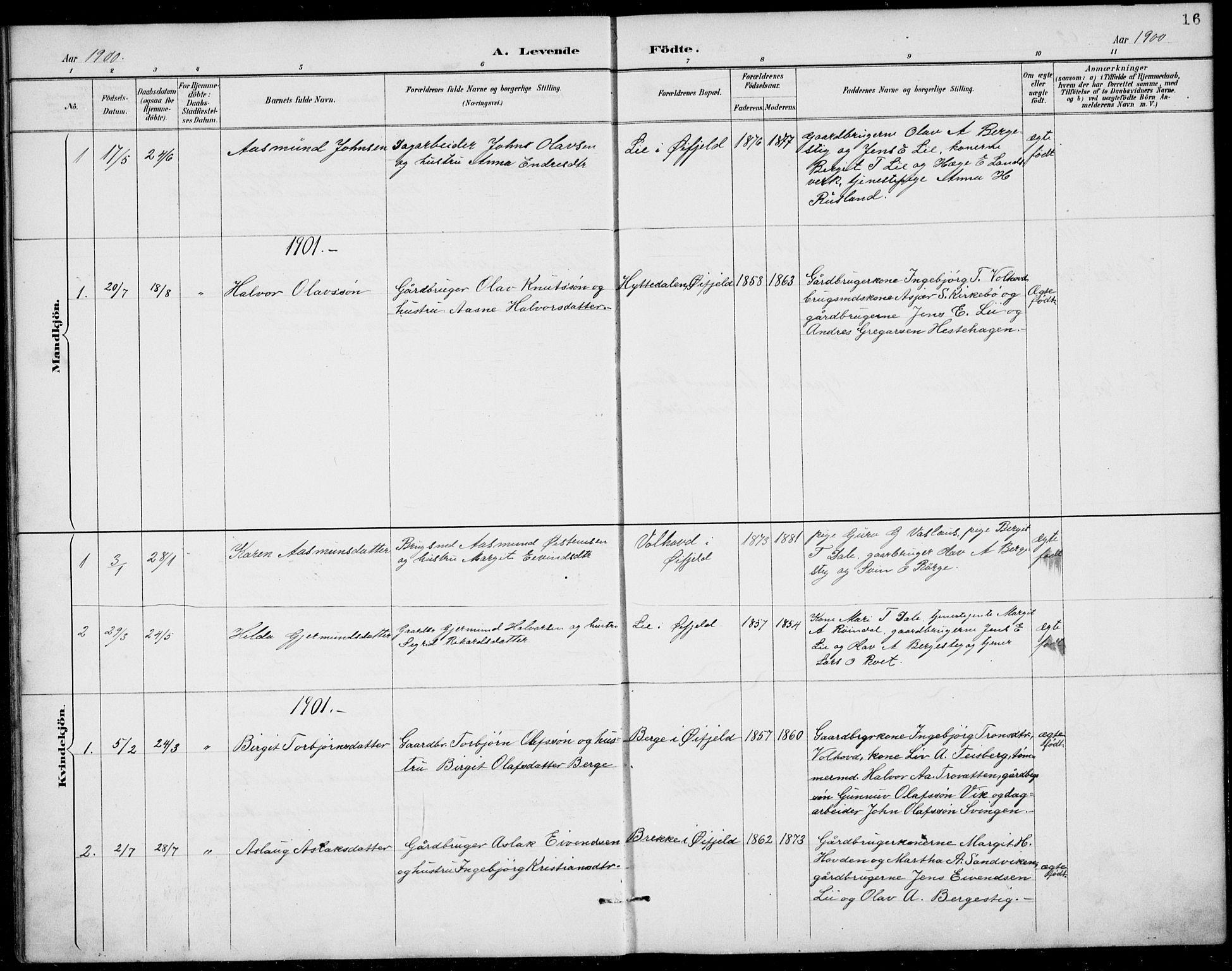SAKO, Rauland kirkebøker, G/Gb/L0002: Klokkerbok nr. II 2, 1887-1937, s. 16