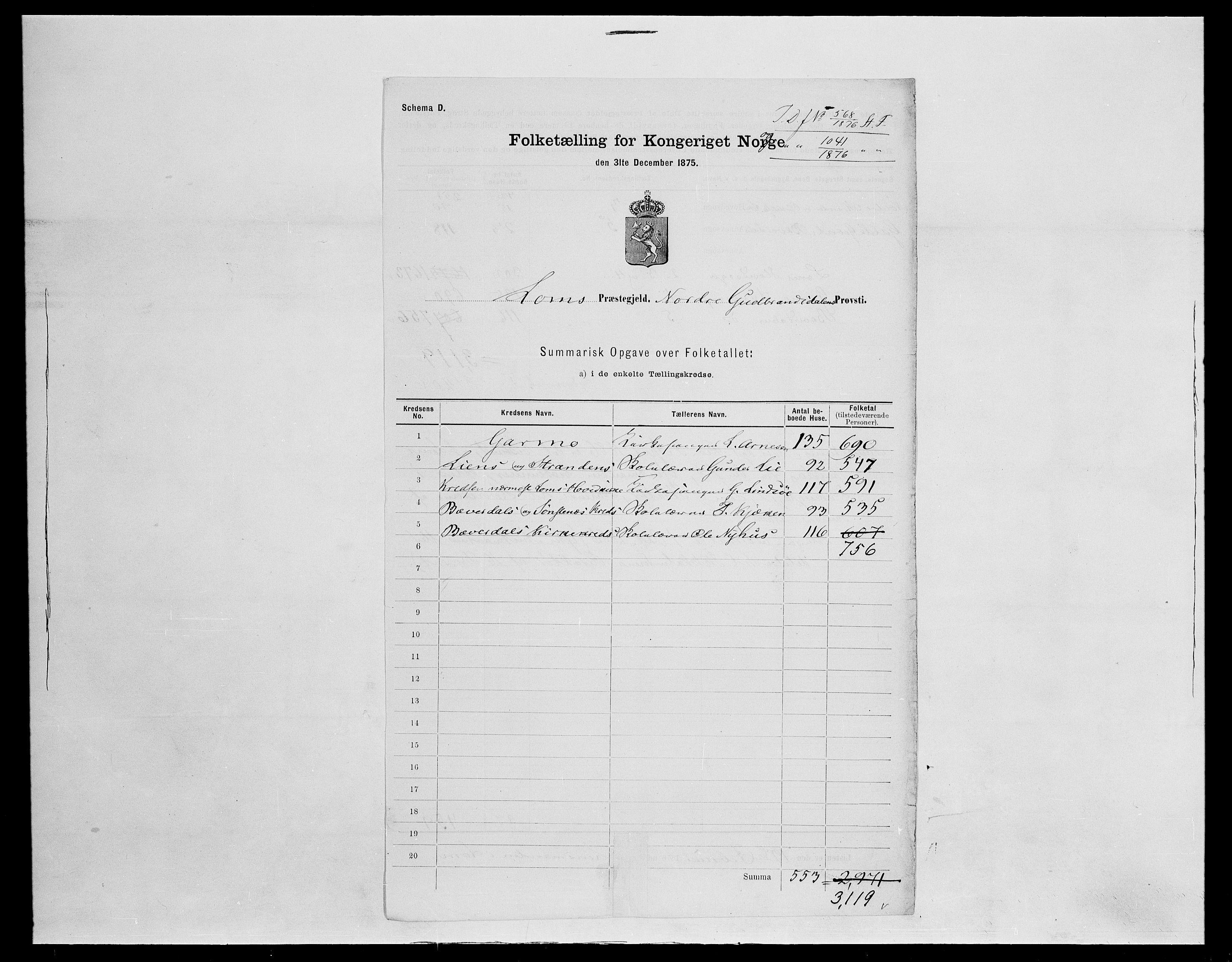 SAH, Folketelling 1875 for 0514P Lom prestegjeld, 1875, s. 8