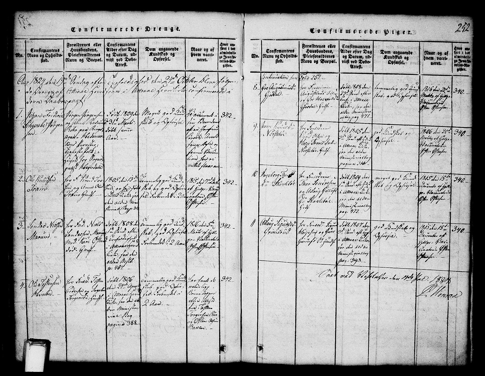 SAKO, Tinn kirkebøker, G/Ga/L0001: Klokkerbok nr. I 1, 1815-1850, s. 252