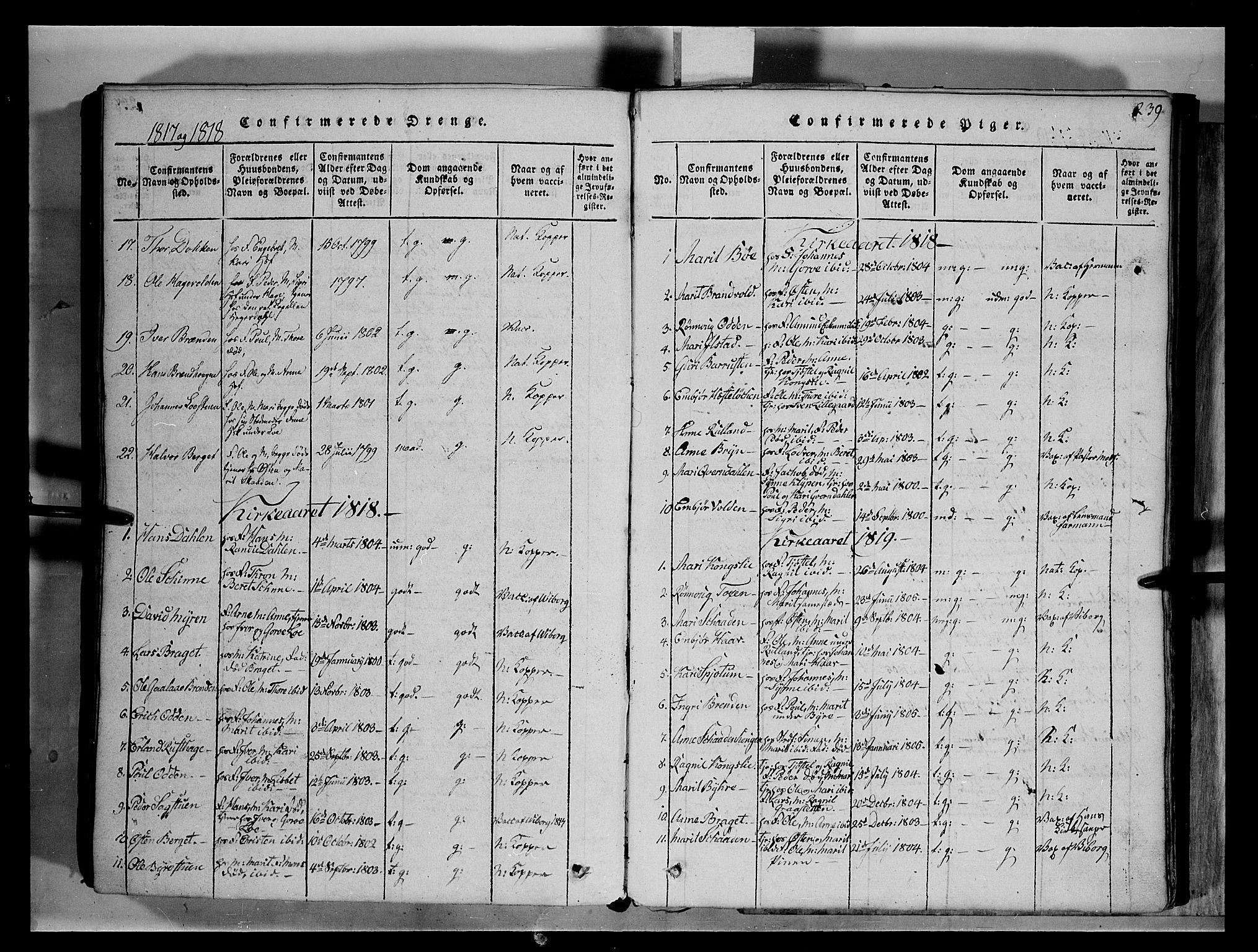 SAH, Fron prestekontor, H/Ha/Hab/L0004: Klokkerbok nr. 4, 1816-1850, s. 239