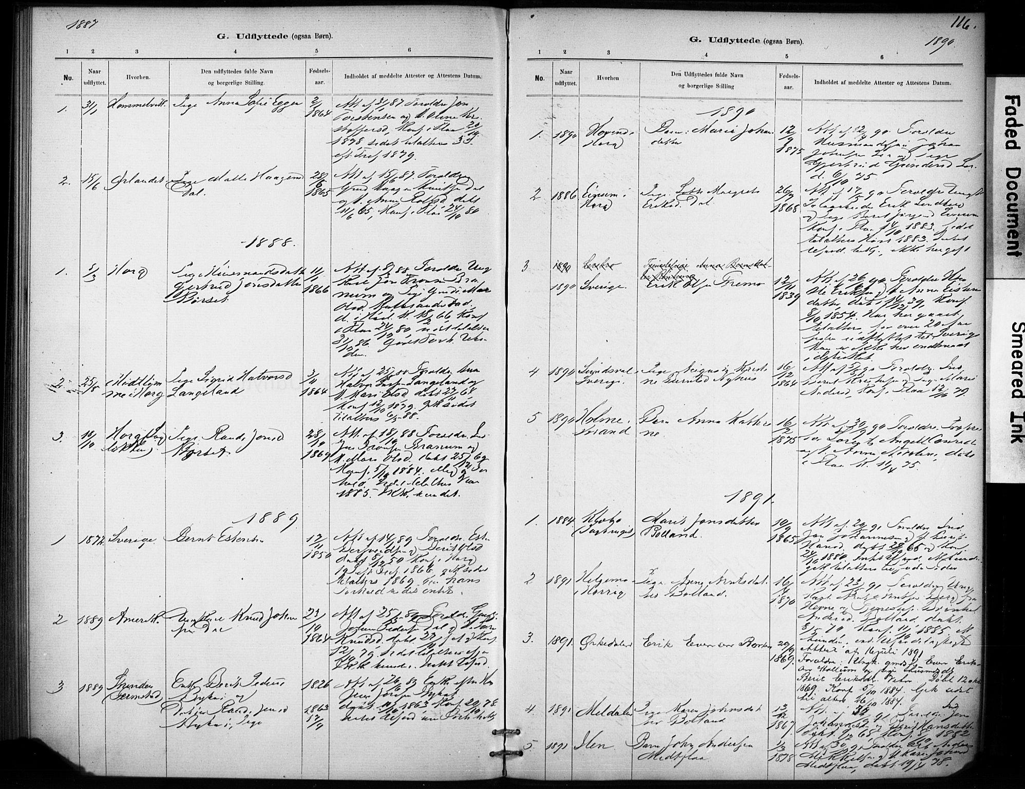 SAT, Ministerialprotokoller, klokkerbøker og fødselsregistre - Sør-Trøndelag, 693/L1119: Ministerialbok nr. 693A01, 1887-1905, s. 116
