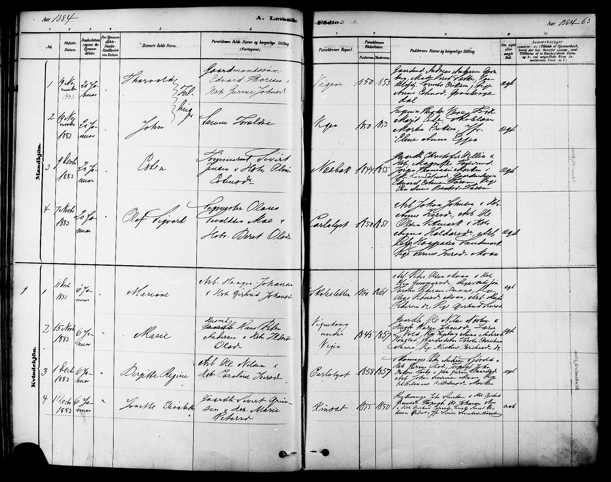 SAT, Ministerialprotokoller, klokkerbøker og fødselsregistre - Sør-Trøndelag, 616/L0410: Ministerialbok nr. 616A07, 1878-1893, s. 63