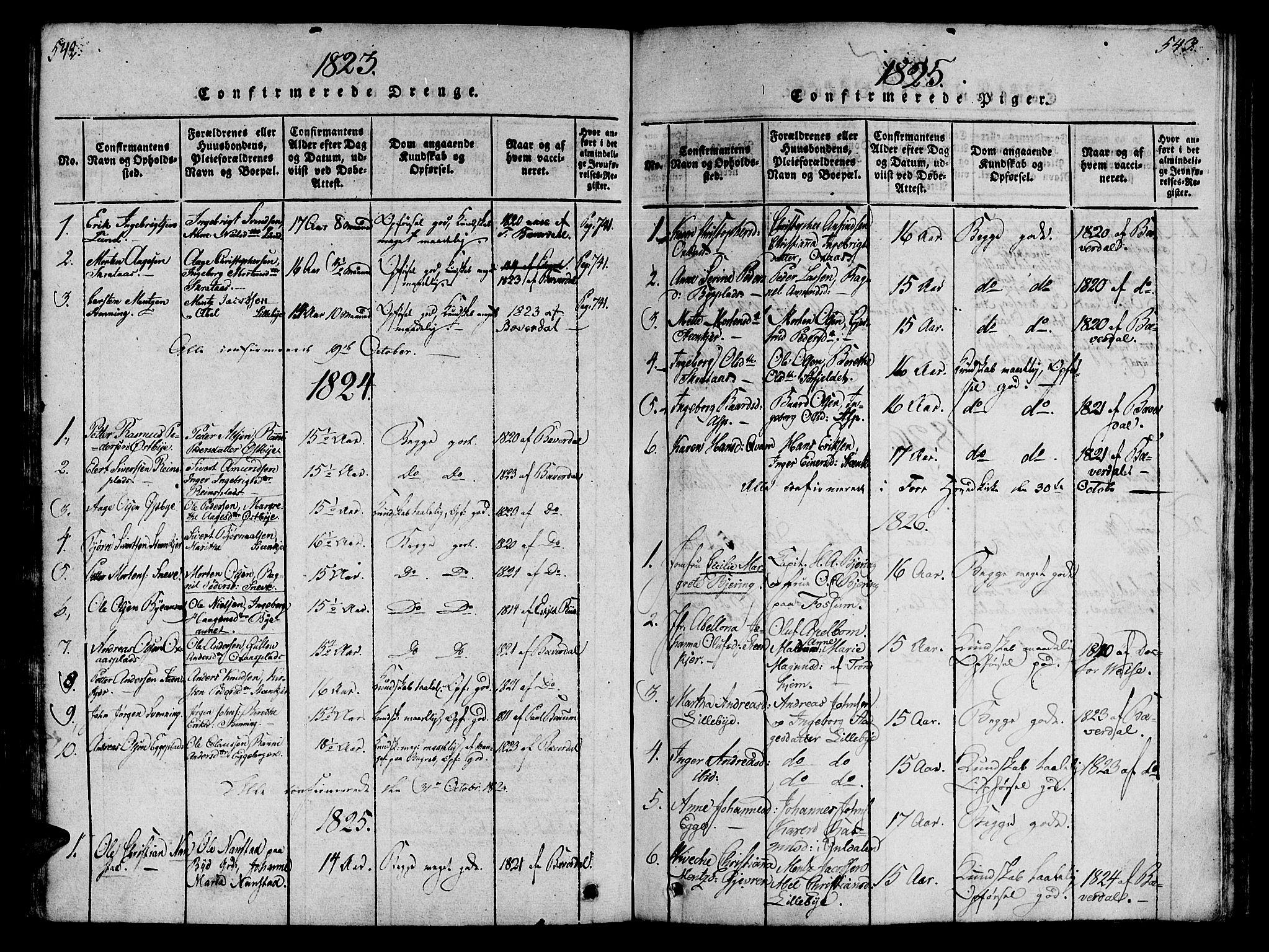 SAT, Ministerialprotokoller, klokkerbøker og fødselsregistre - Nord-Trøndelag, 746/L0441: Ministerialbok nr. 736A03 /3, 1816-1827, s. 542-543