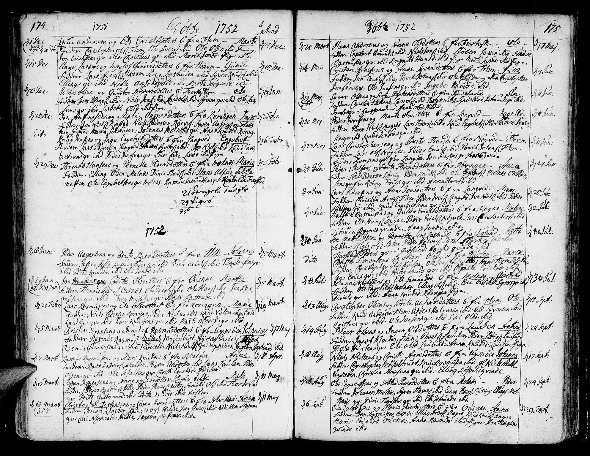 SAT, Ministerialprotokoller, klokkerbøker og fødselsregistre - Møre og Romsdal, 536/L0493: Ministerialbok nr. 536A02, 1739-1802, s. 174-175