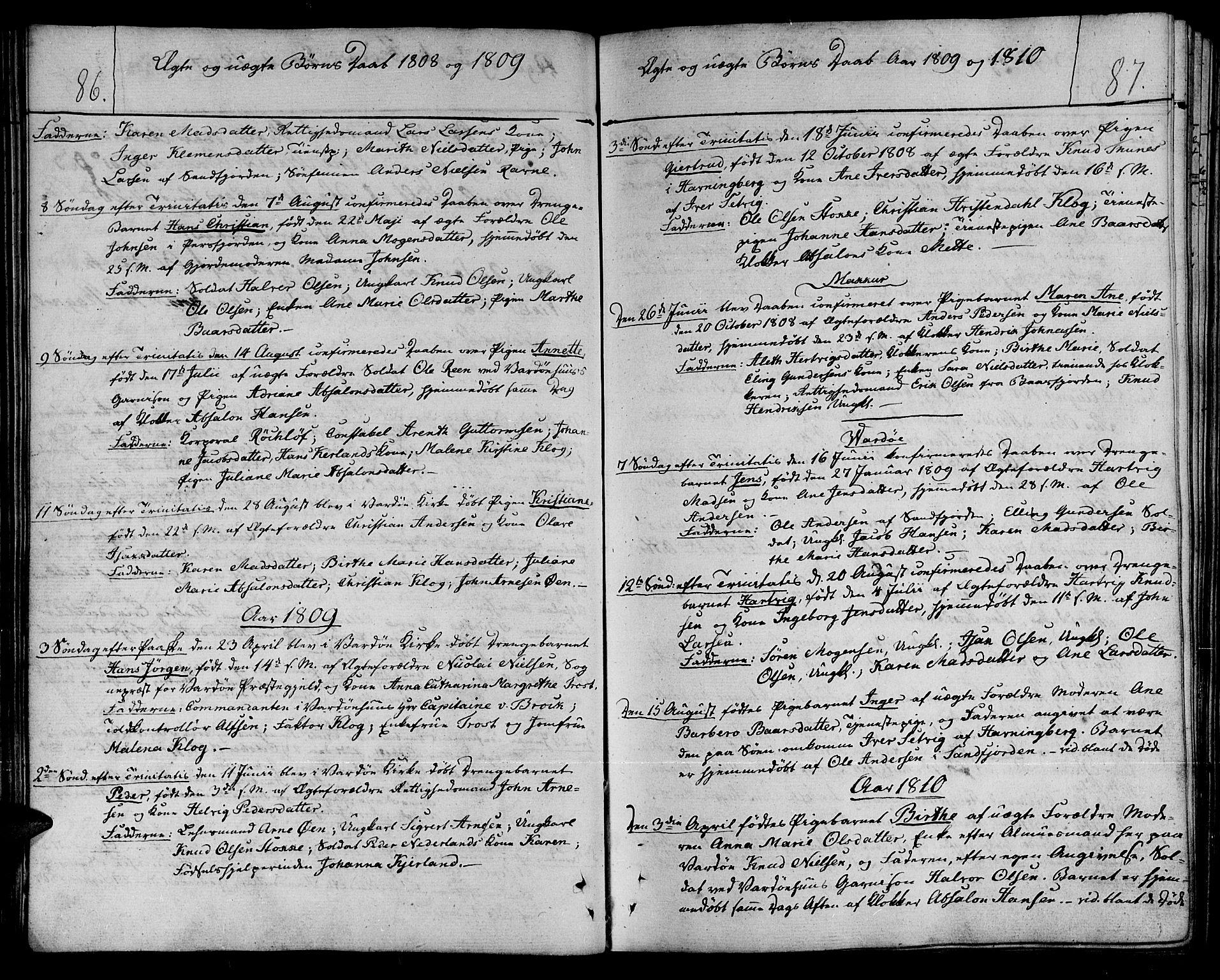 SATØ, Vardø sokneprestkontor, H/Ha/L0002kirke: Ministerialbok nr. 2, 1805-1842, s. 86-87