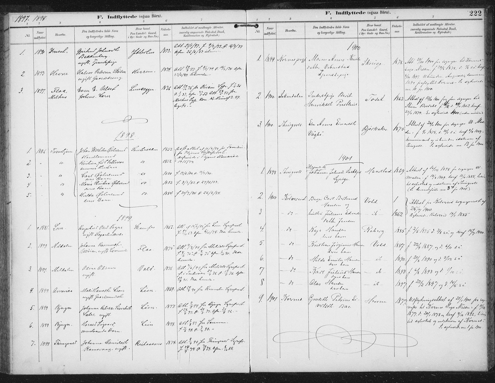 SAT, Ministerialprotokoller, klokkerbøker og fødselsregistre - Sør-Trøndelag, 674/L0872: Ministerialbok nr. 674A04, 1897-1907, s. 222