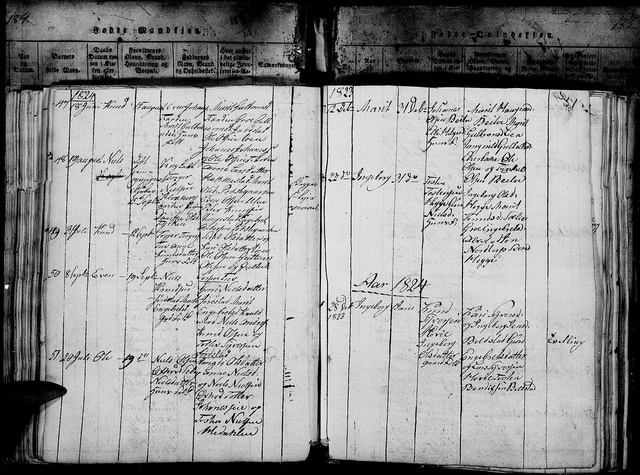SAH, Slidre prestekontor, Ministerialbok nr. 2, 1814-1830, s. 185z