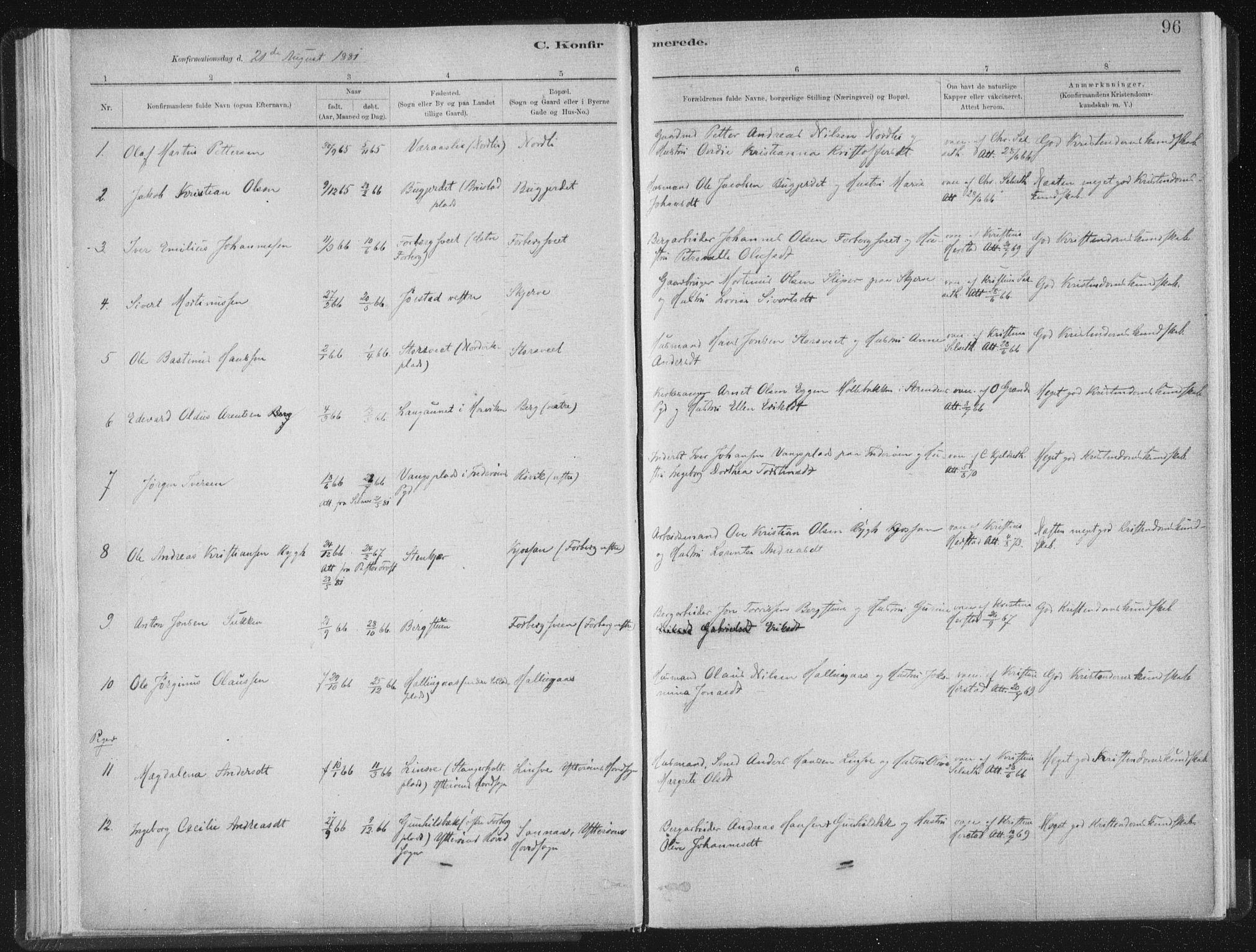 SAT, Ministerialprotokoller, klokkerbøker og fødselsregistre - Nord-Trøndelag, 722/L0220: Ministerialbok nr. 722A07, 1881-1908, s. 96