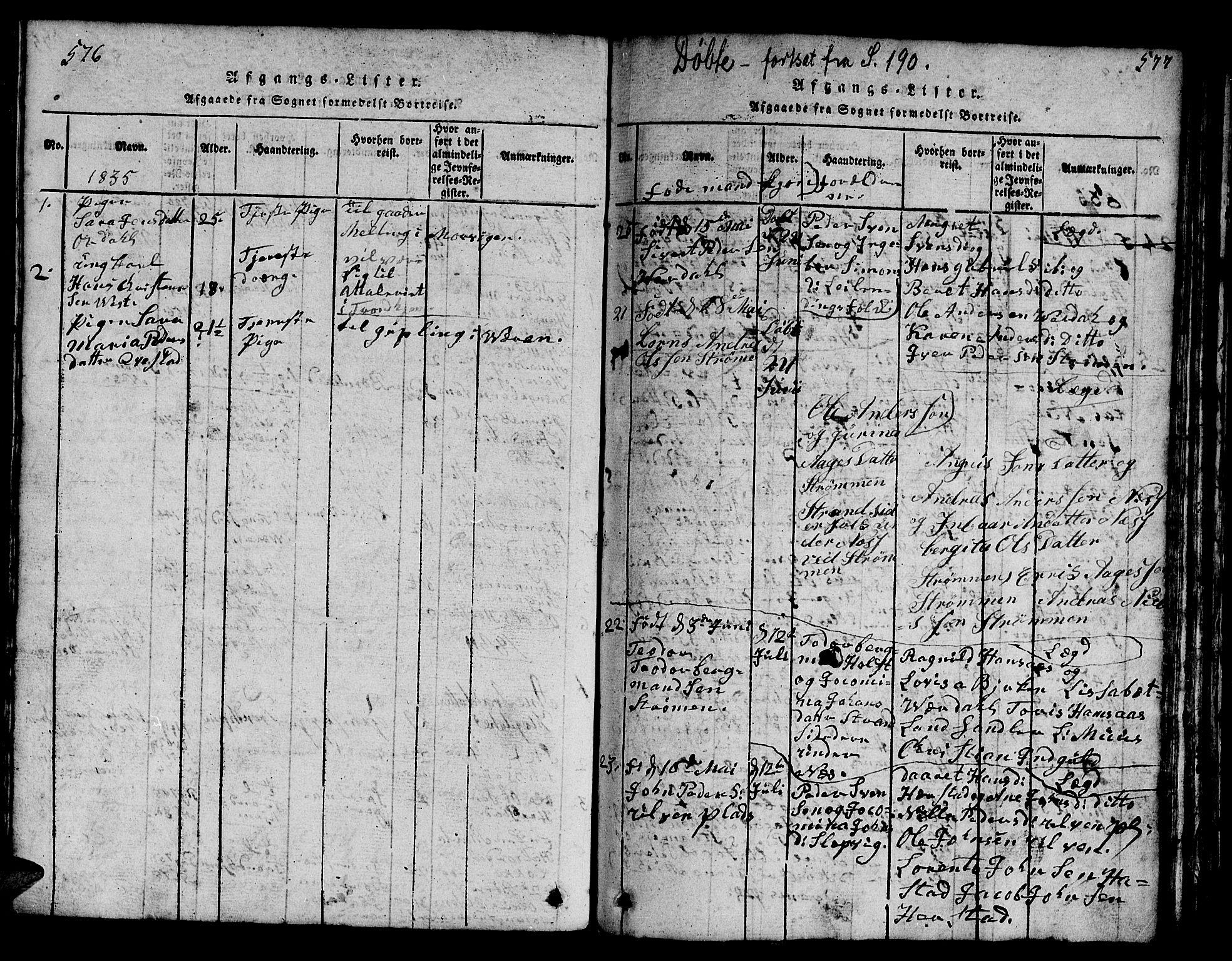 SAT, Ministerialprotokoller, klokkerbøker og fødselsregistre - Nord-Trøndelag, 730/L0298: Klokkerbok nr. 730C01, 1816-1849, s. 576-577