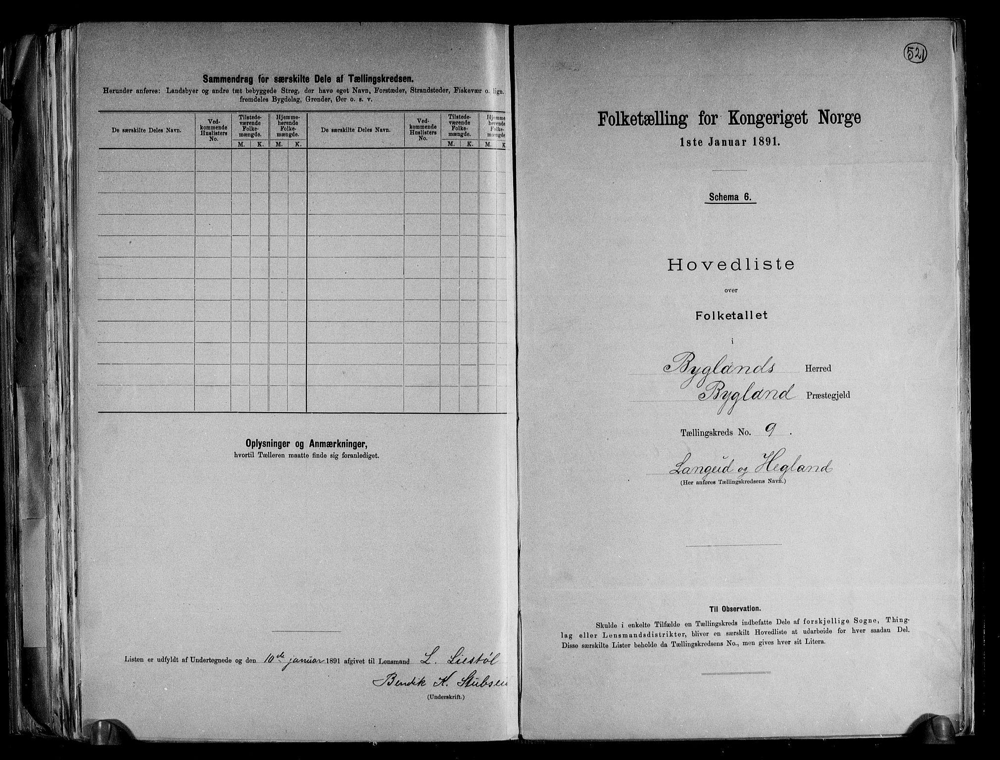 RA, Folketelling 1891 for 0938 Bygland herred, 1891, s. 24