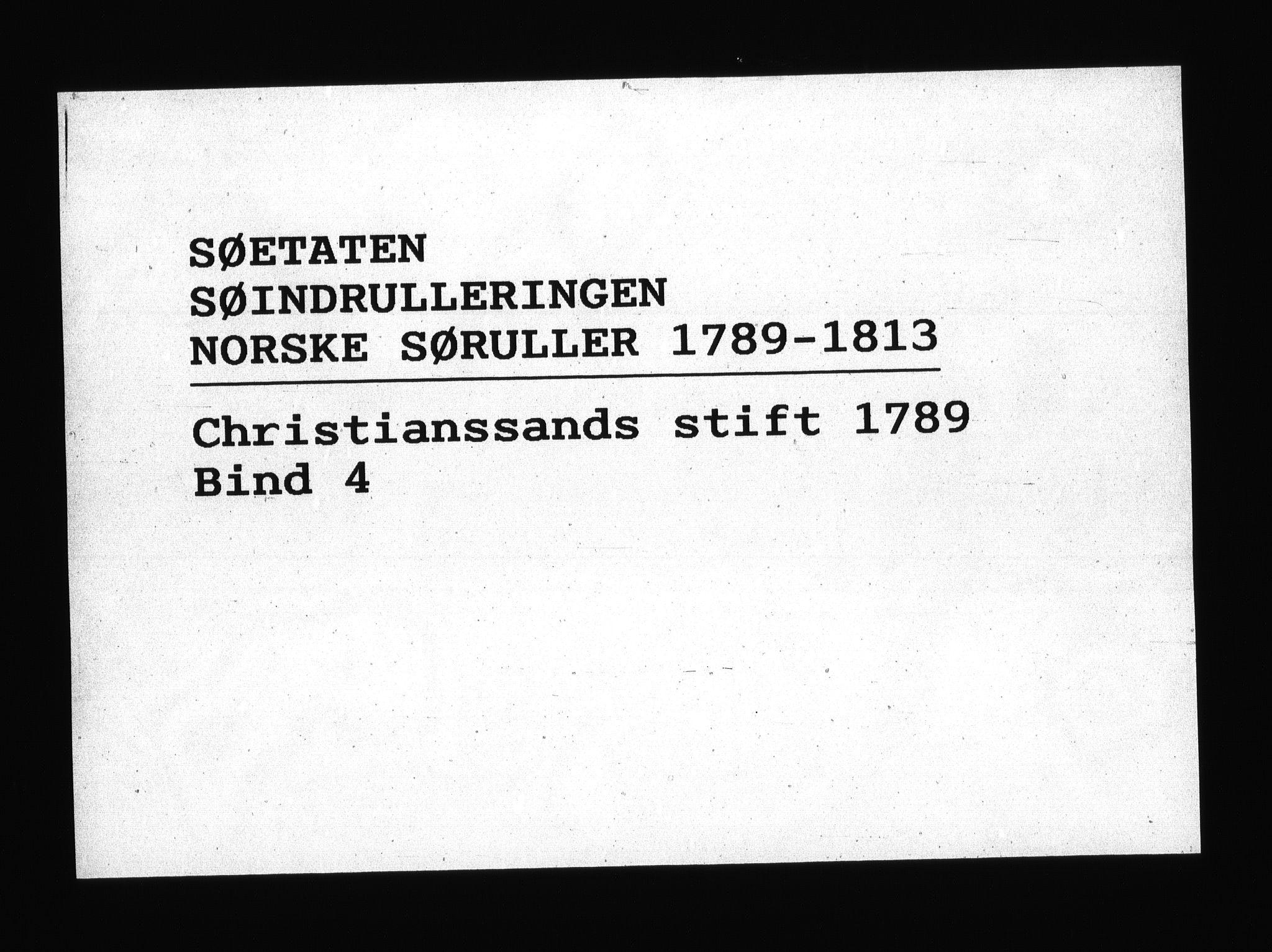 RA, Sjøetaten, F/L0011: Kristiansand stift, bind 4, 1789
