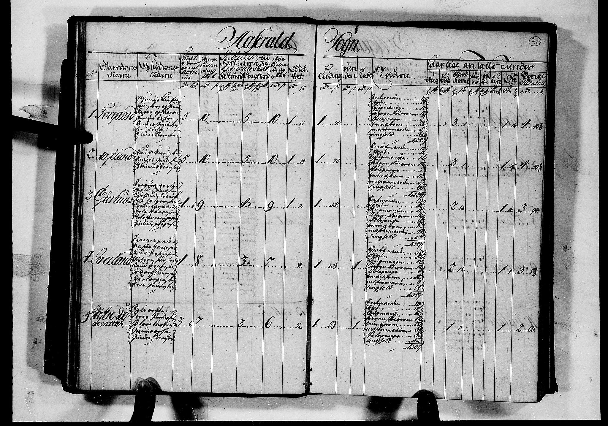 RA, Rentekammeret inntil 1814, Realistisk ordnet avdeling, N/Nb/Nbf/L0126: Råbyggelag matrikkelprotokoll, 1723, s. 29b-30a