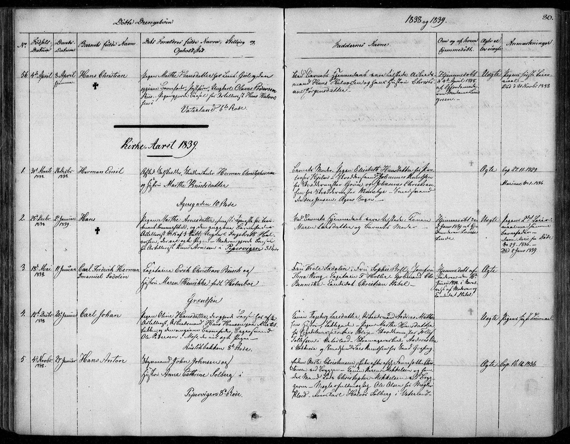SAO, Garnisonsmenigheten Kirkebøker, F/Fa/L0006: Ministerialbok nr. 6, 1828-1841, s. 80
