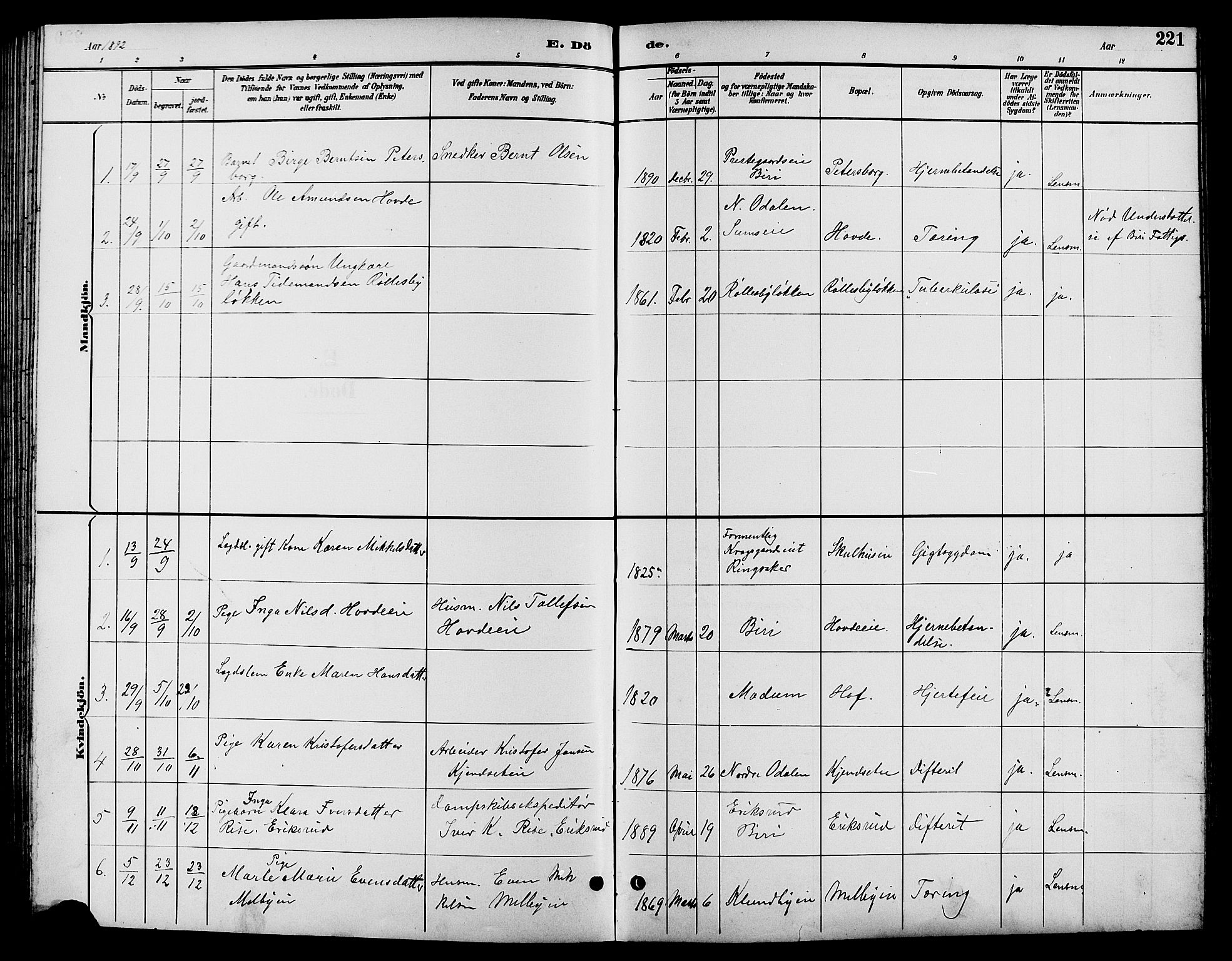 SAH, Biri prestekontor, Klokkerbok nr. 4, 1892-1909, s. 221