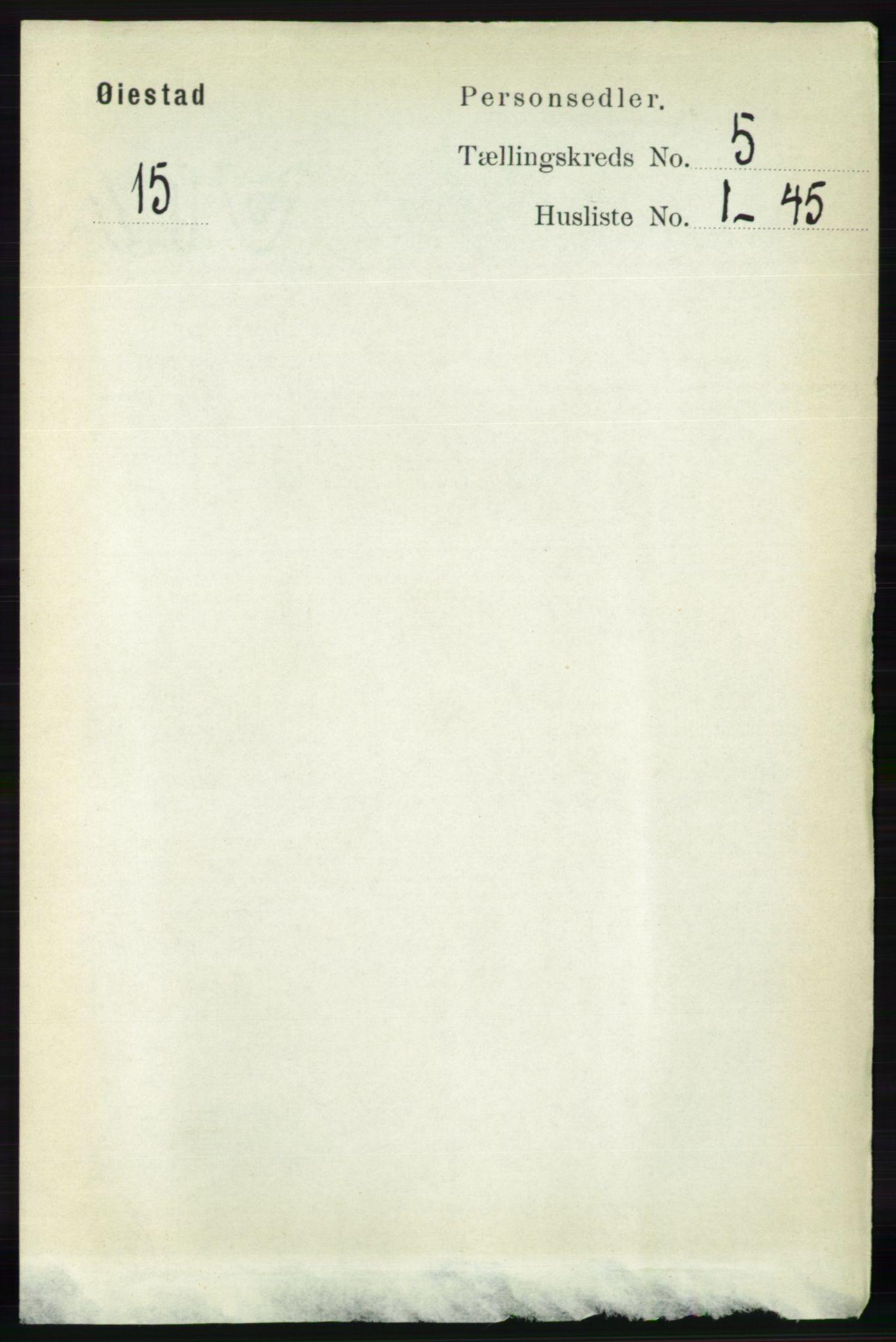 RA, Folketelling 1891 for 0920 Øyestad herred, 1891, s. 1809